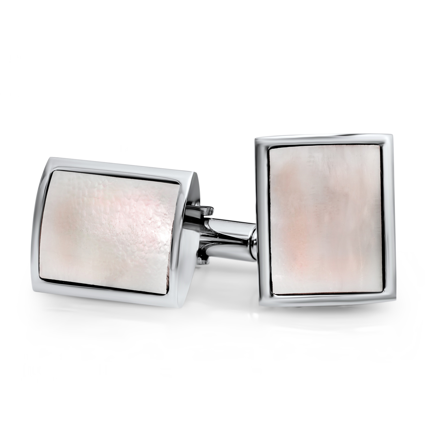 Stainless Steel Mother of Pearl Rectangle Cuff Links
