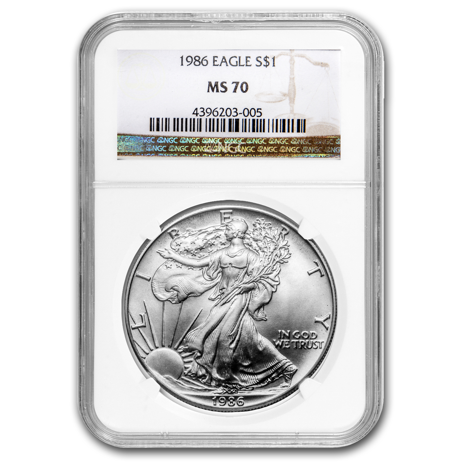 1986 Silver American Eagle MS-70 NGC (Registry Set)