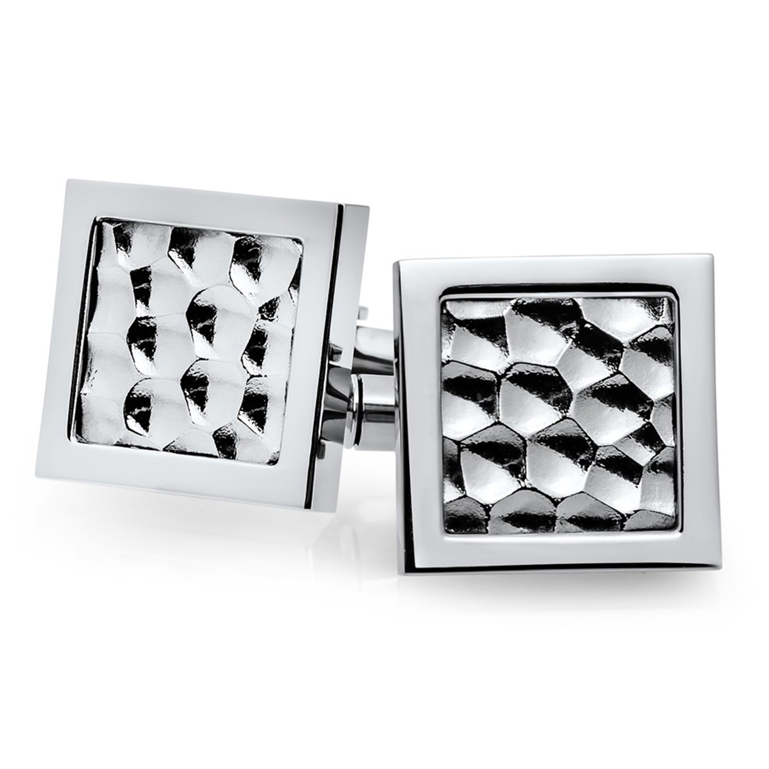 Titanium Hammered Square Cuff Links