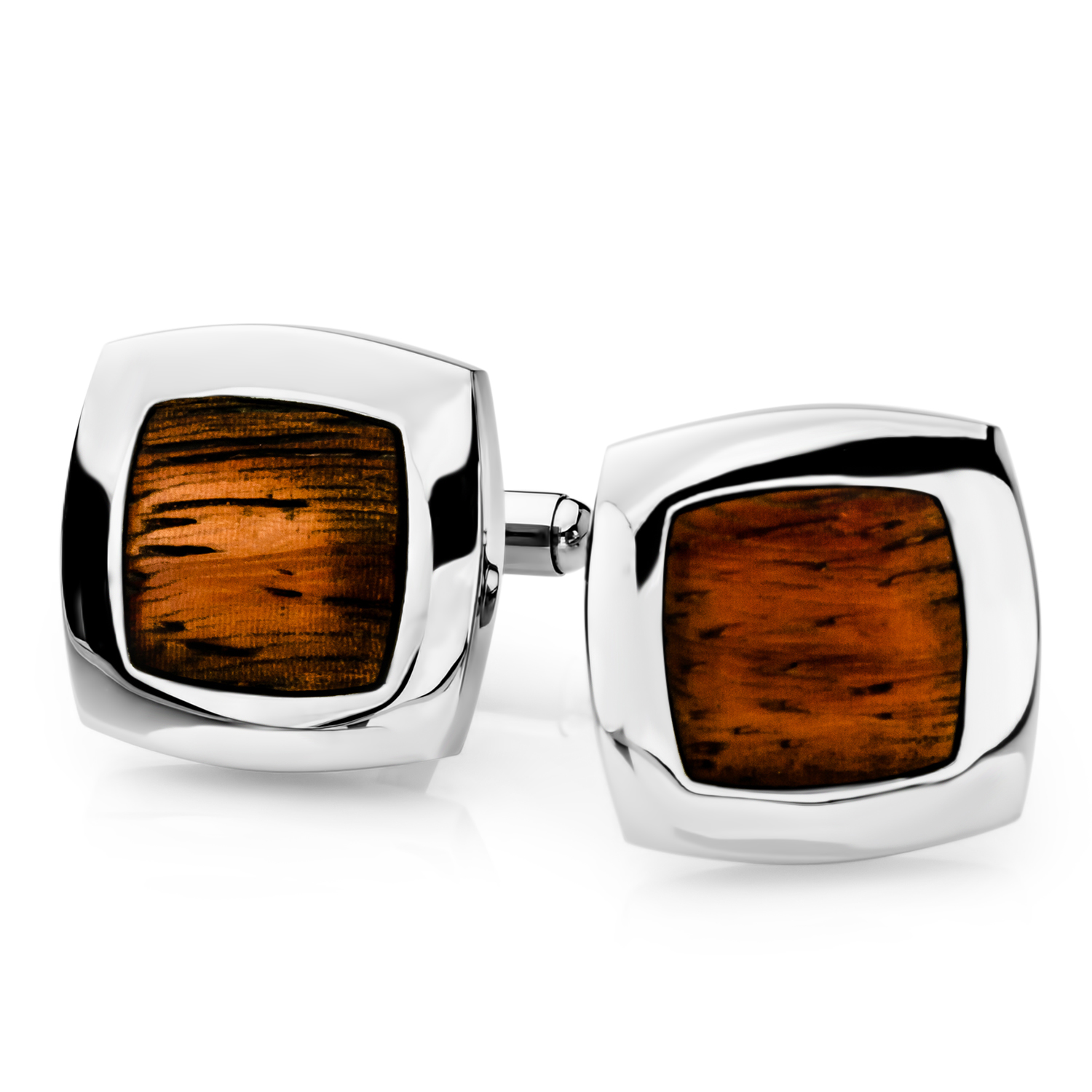 Stainless Steel Wood Inlay Square Cuff Links
