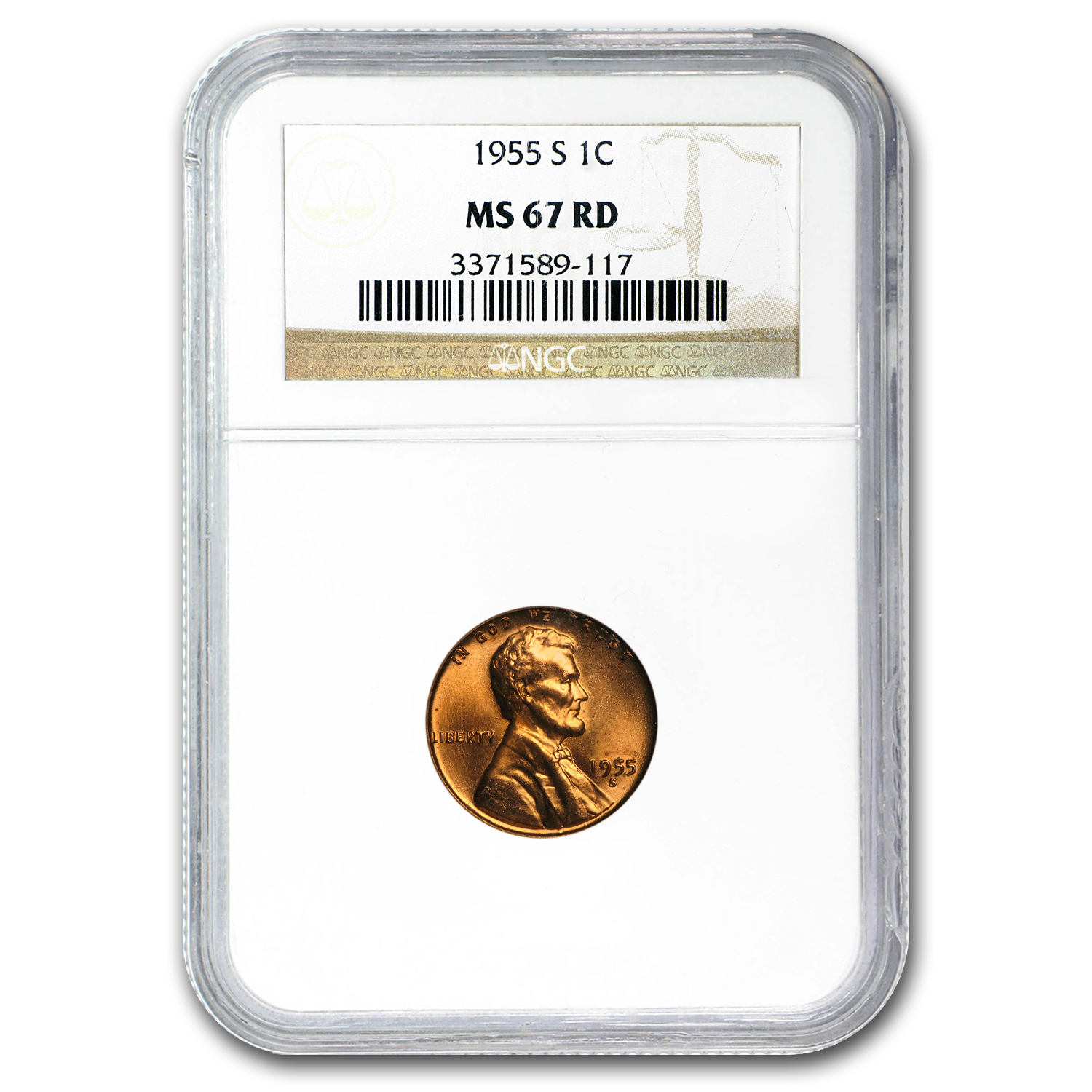 1955-S Lincoln Cent MS-67 NGC (Red)