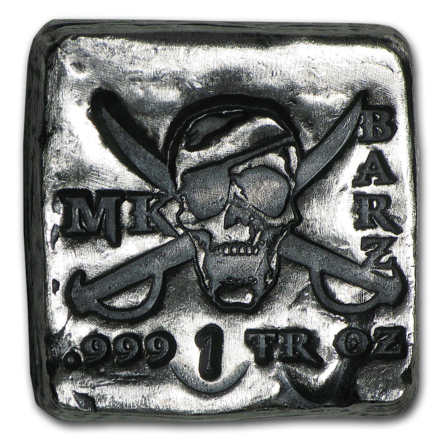 1 oz Silver Square - MK Barz & Bullion (Jolly Roger)