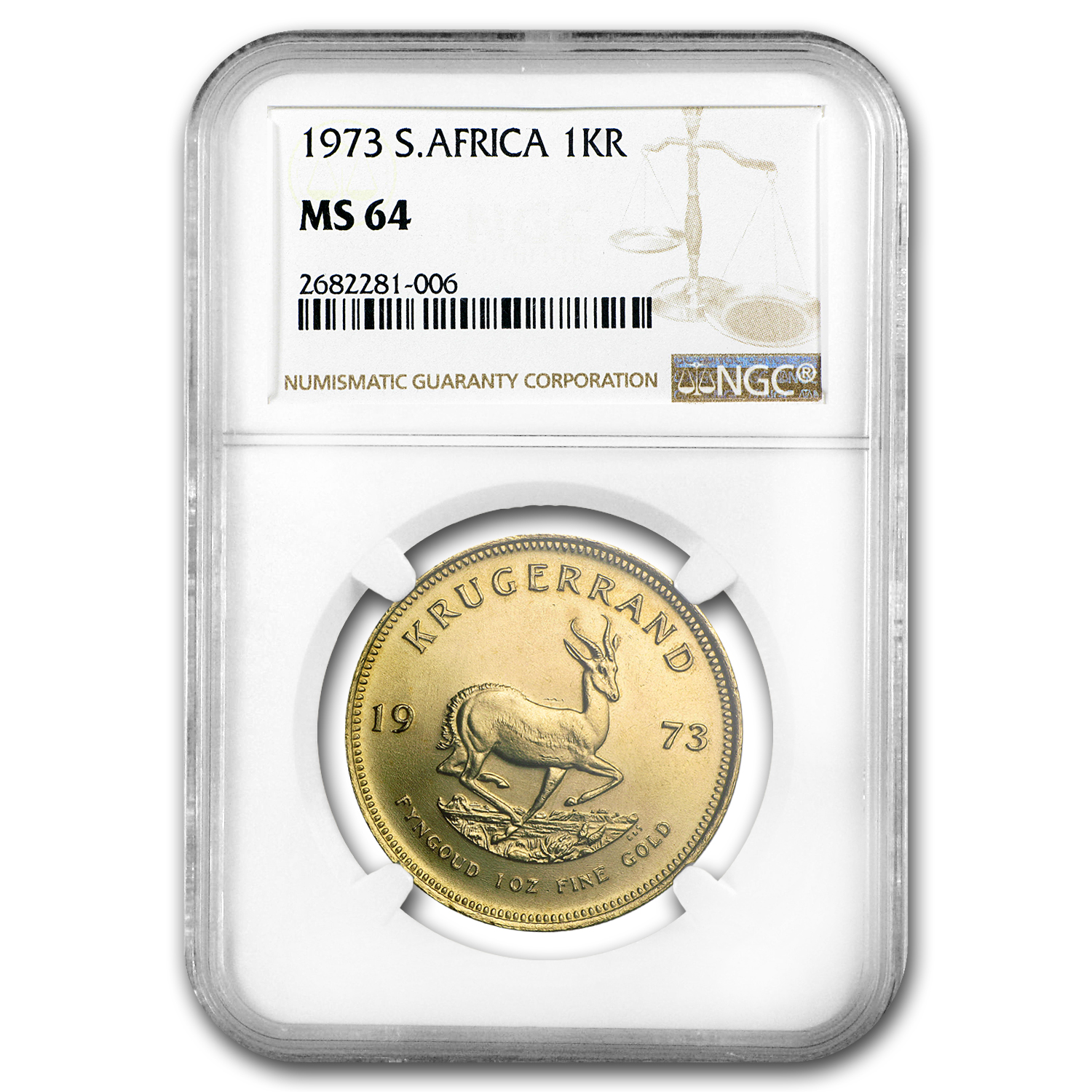 1973 South Africa 1 oz Gold Krugerrand MS-64 NGC