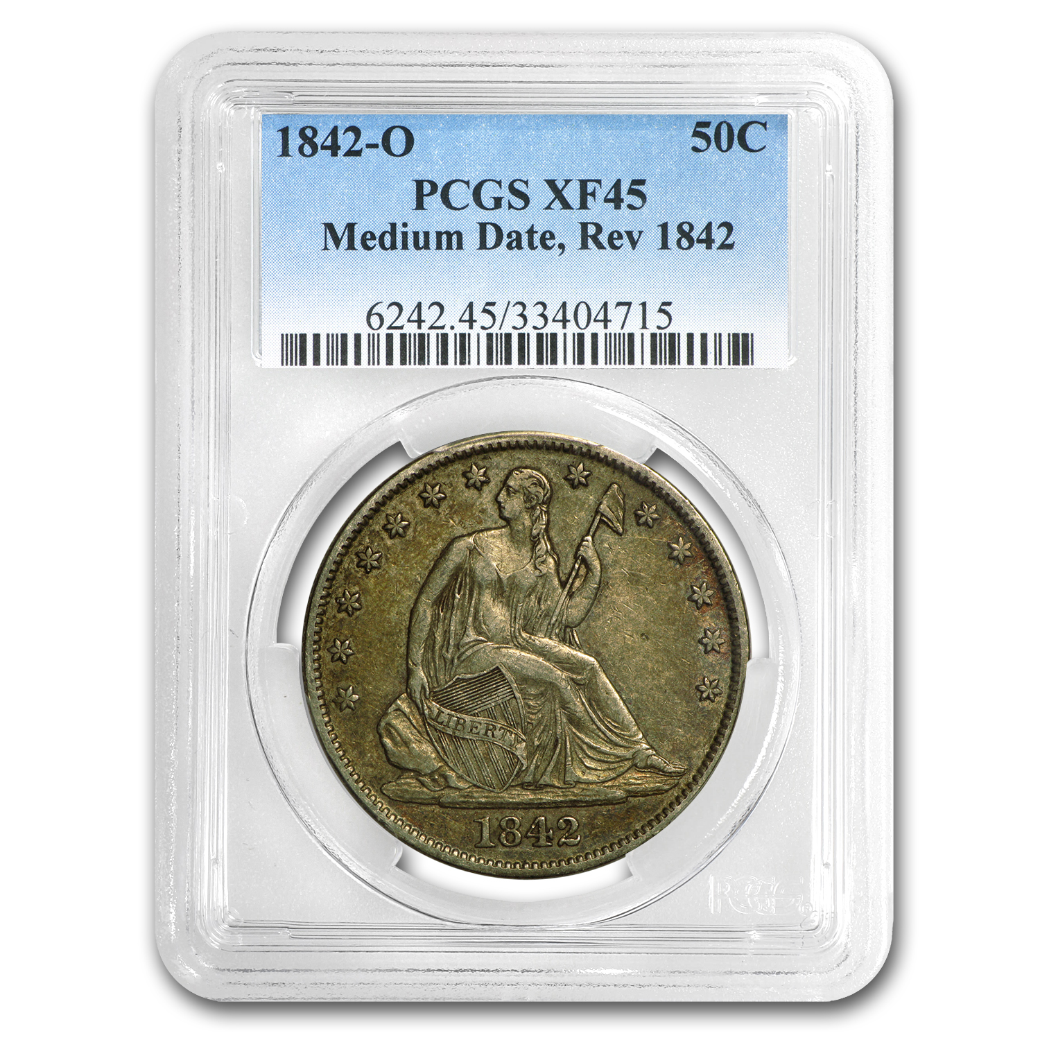 1842-O Liberty Seated Half Dollar XF-45 PCGS