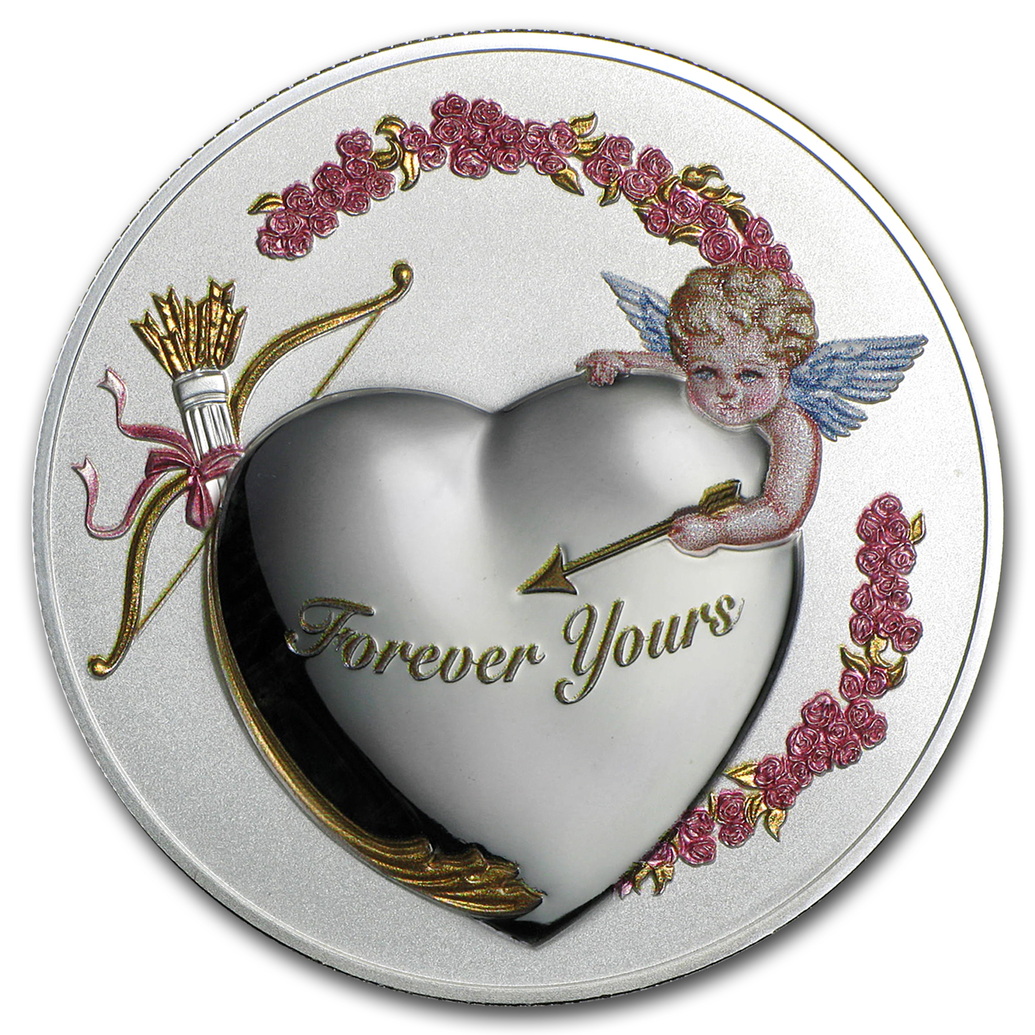 "2016 Niue 1 oz Silver ""Forever Yours"" Coin PL (PAMP, No COA)"
