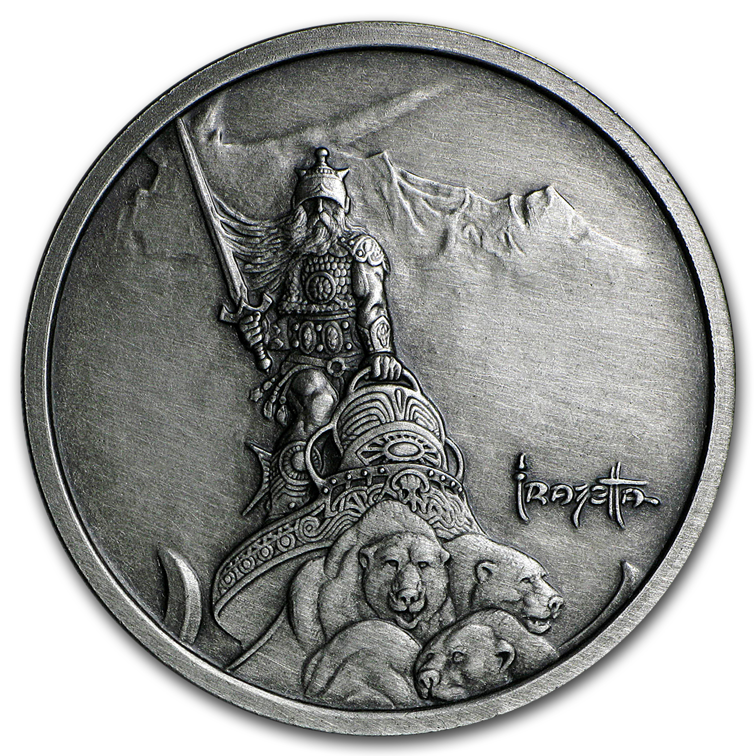 1 oz Silver Antique Round - Frank Frazetta (Silver Warrior)