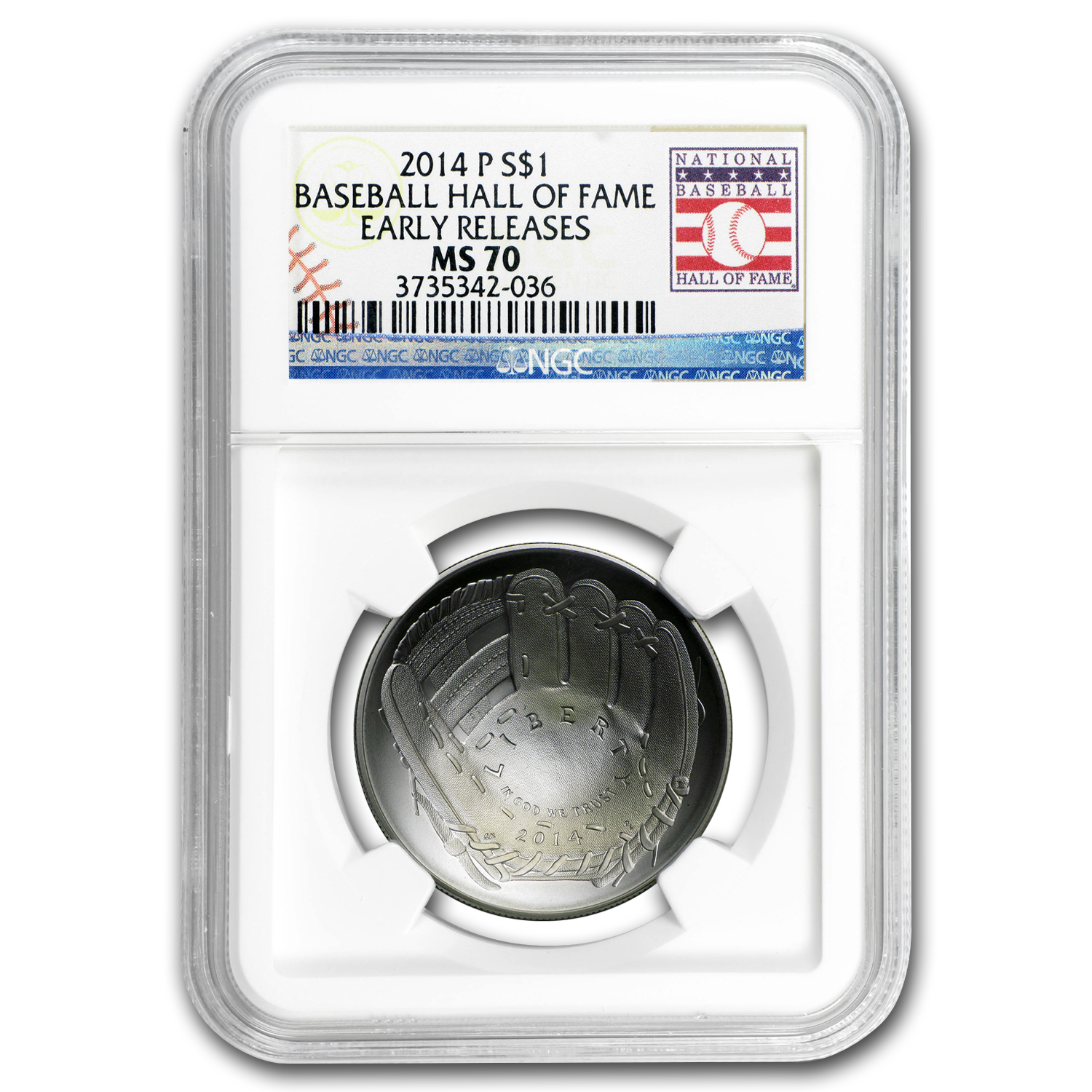 2014-P Baseball HOF $1 Silver Commem Set MS/PF-70 NGC (ER)