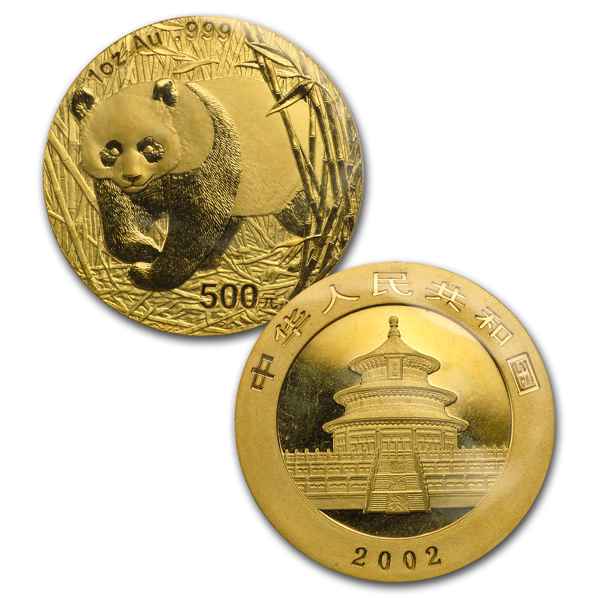 2002 China 1 oz Gold Panda BU (Sealed Sheet of 10)