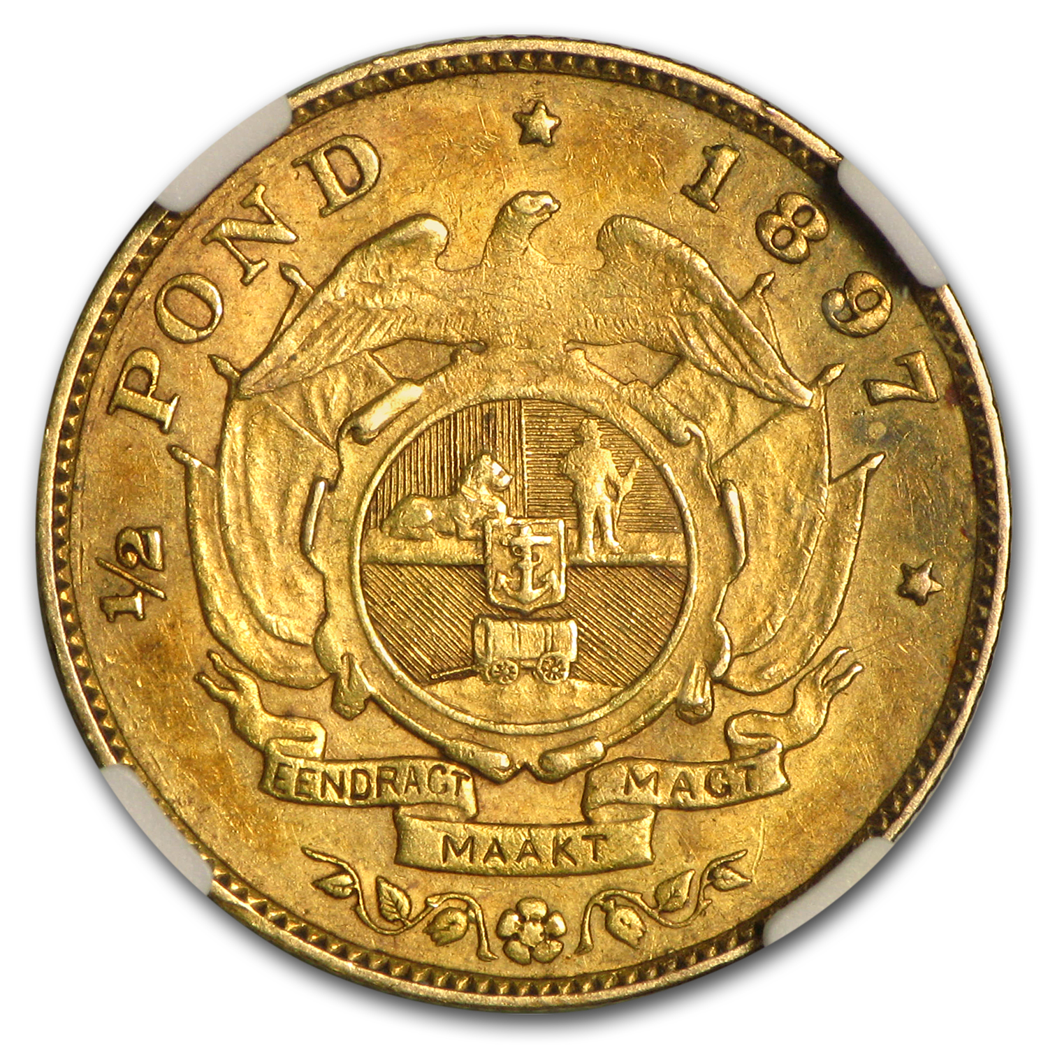 1897 South Africa Gold 1/2 Pond AU-50 NGC