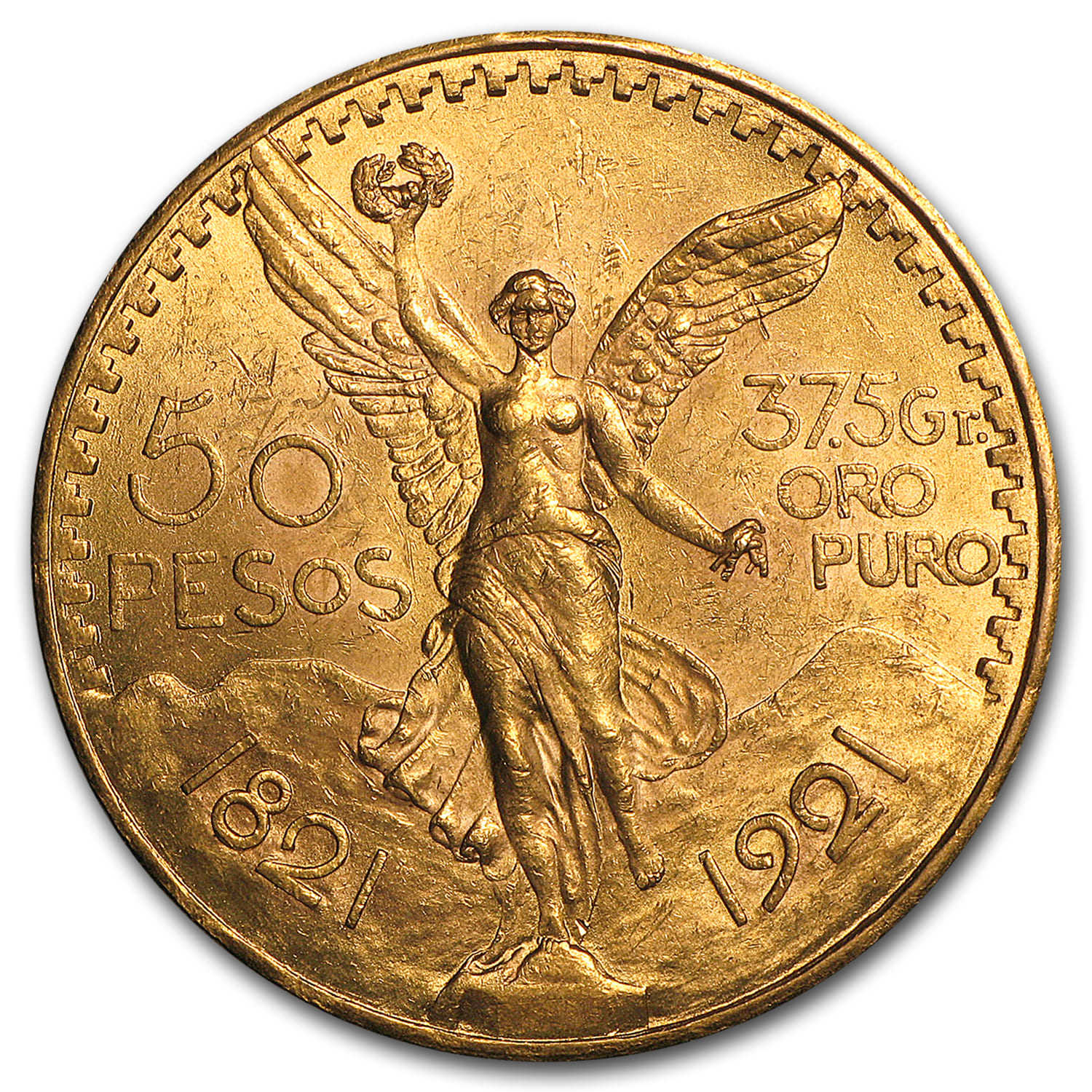 1921 Mexico Gold 50 Pesos BU