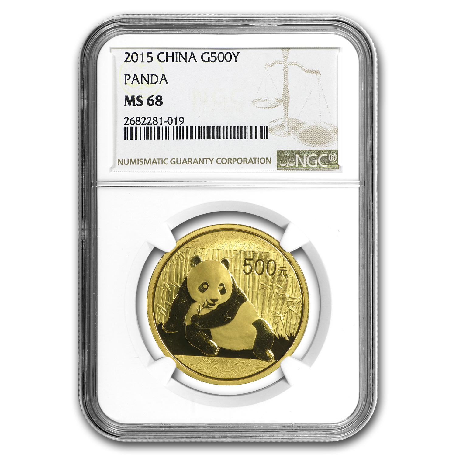 2015 China 1 oz Gold Panda MS-68 NGC