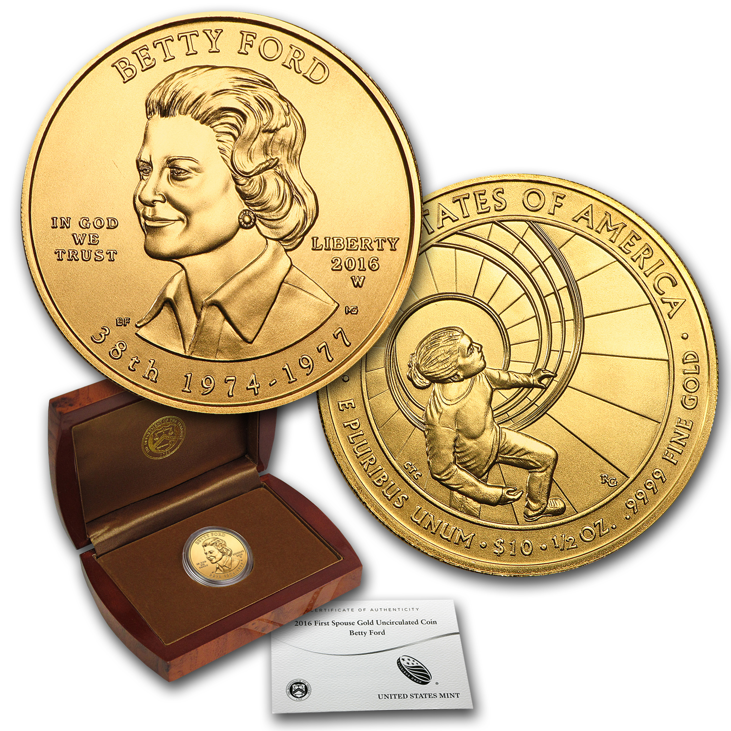 2016-W 1/2 oz Gold Betty Ford BU (w/Box & COA)