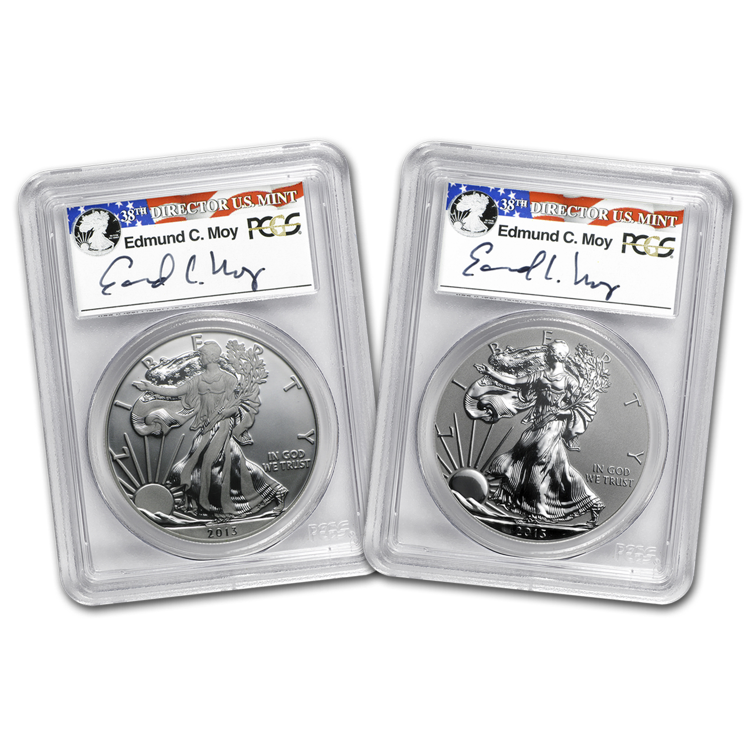 2013 2-Coin Silver Eagle Set MS/PF-70 PCGS (Edmund Moy)