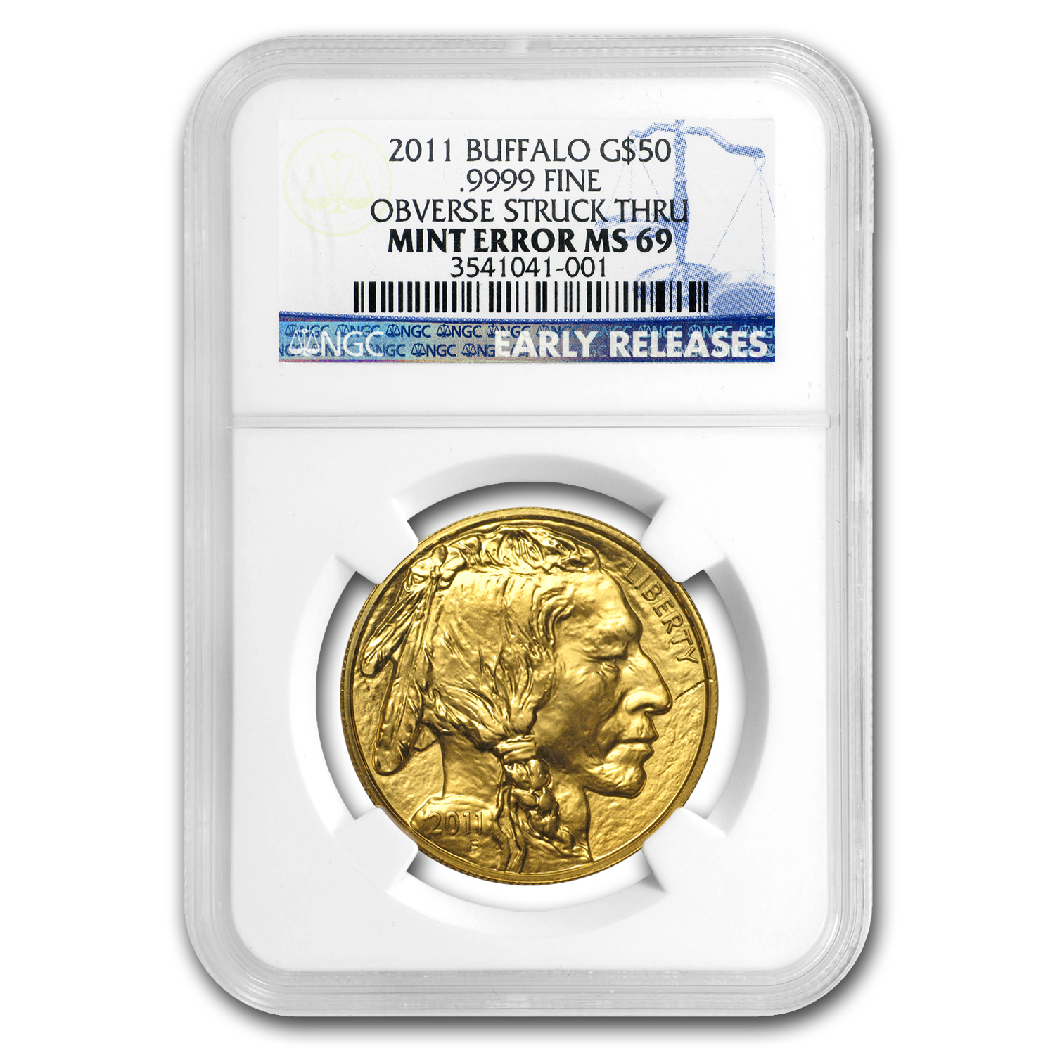 1 oz Gold Buffalo MS-69 NGC (ER, Mint Error, Obverse Struck Thru)