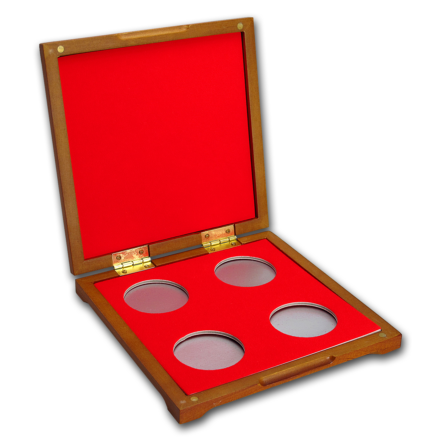 4 coin Wood Presentation Box - Fits Up to 40 mm (Red Interior)