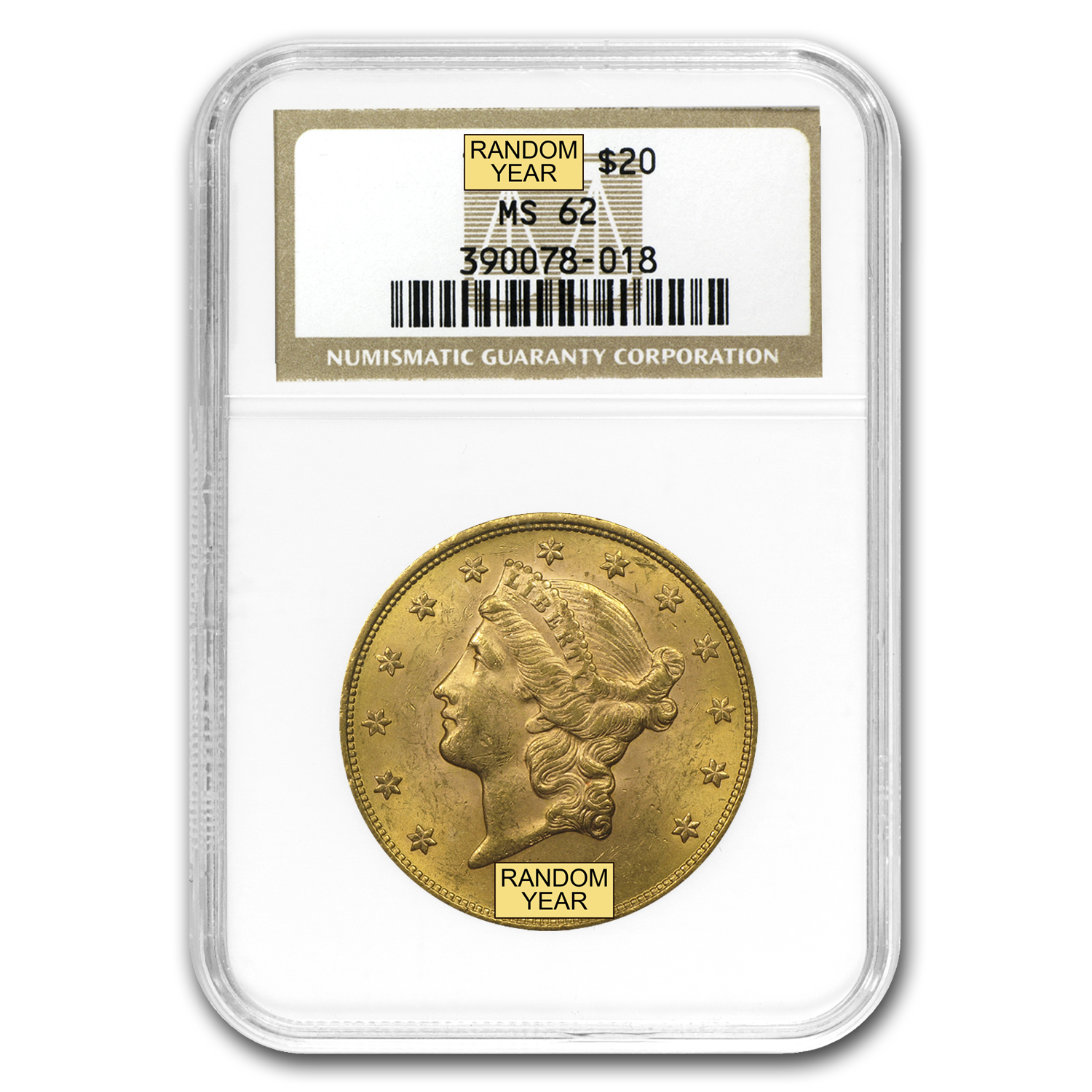 $20 Liberty Gold Double Eagle MS-62 NGC (1800s S-Mint)
