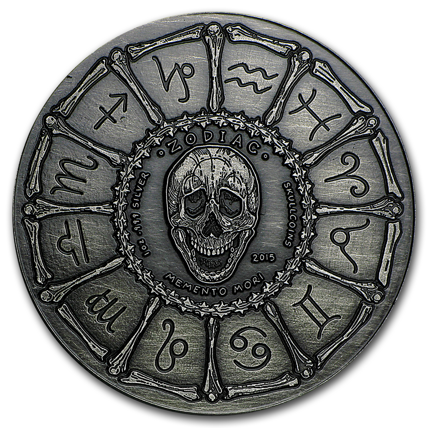 1 oz Silver Antique Round - Zodiac Skull Series (Leo)