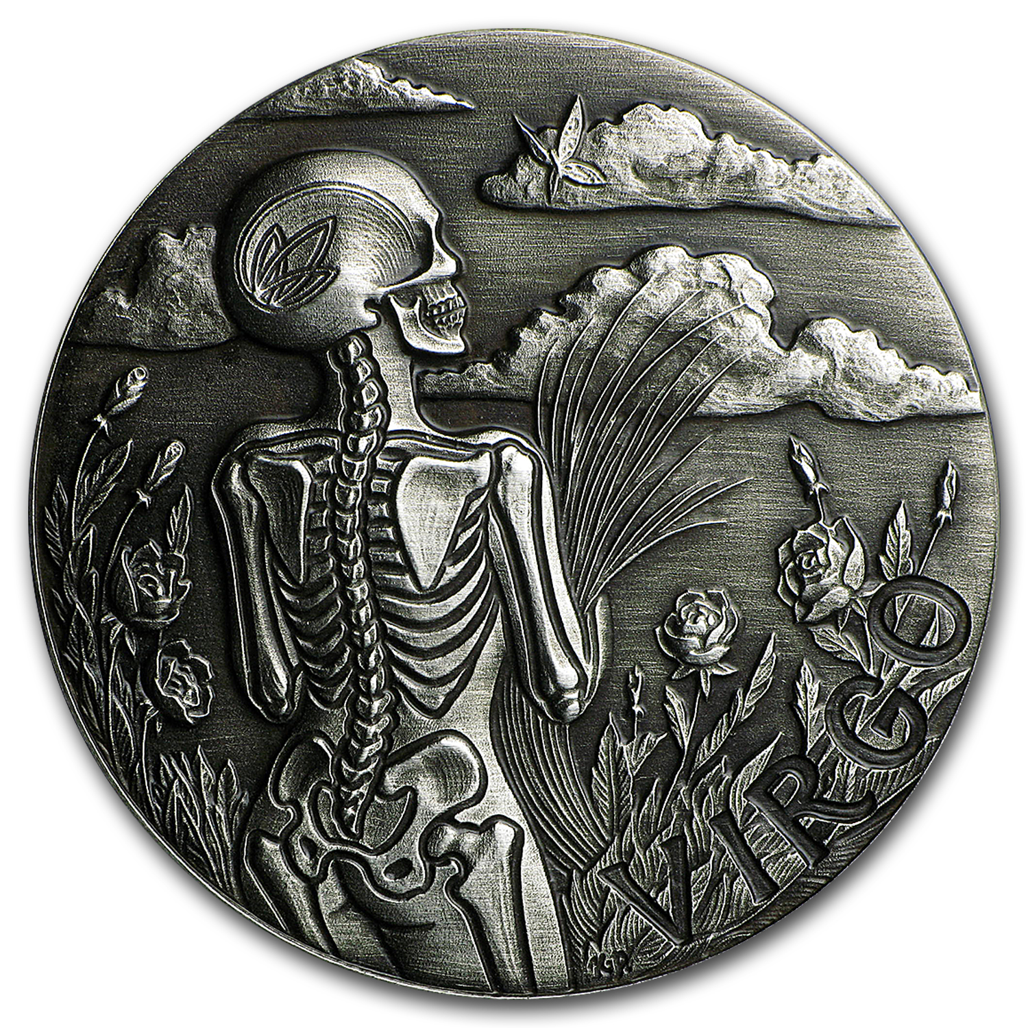 1 oz Silver Antique Round - Zodiac Skull Series (Virgo)
