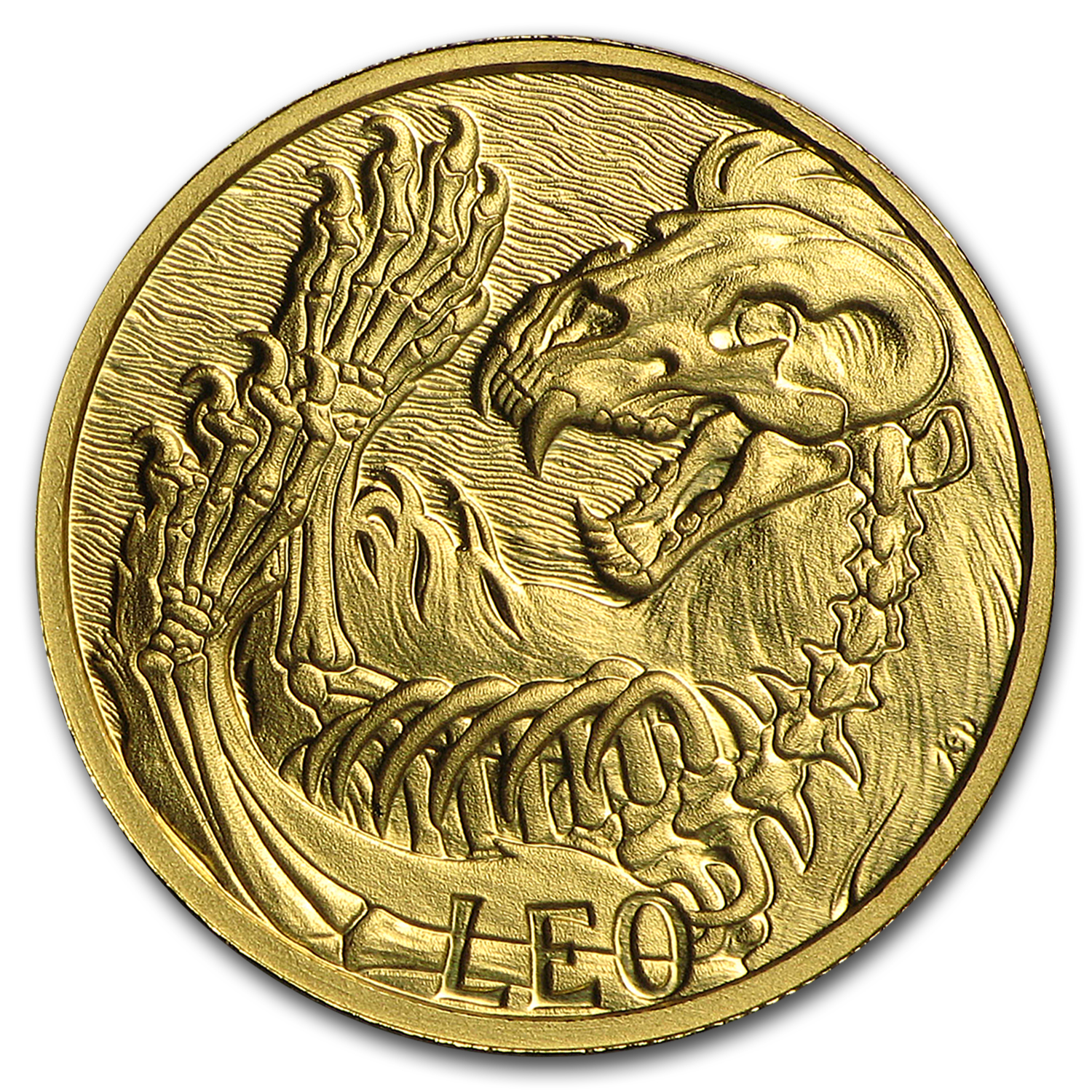 1/10 oz Gold Proof Round - Zodiac Skull Series (Leo)