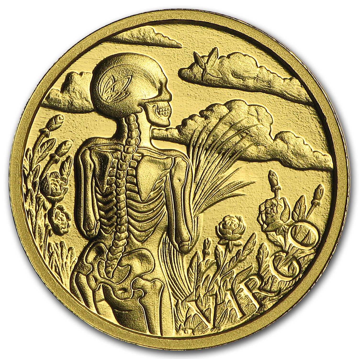 1/10 oz Gold Proof Round - Zodiac Skull Series (Virgo)