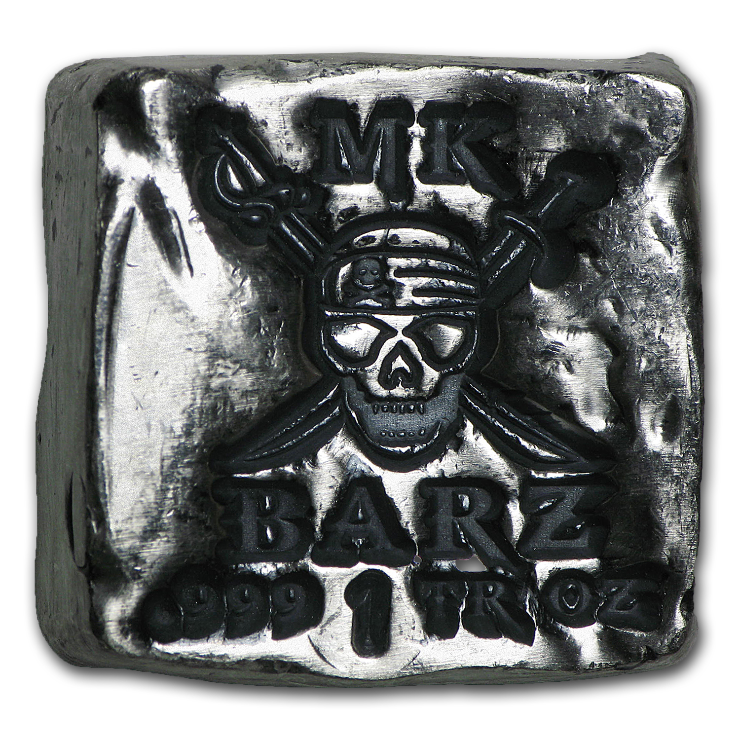 1 oz Silver Square - MK Barz & Bullion (Pirate Skull & Swords)