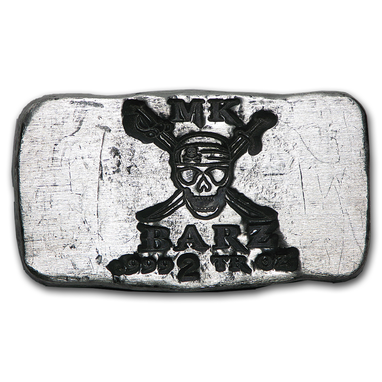 2 oz Silver Bar - MK Barz (Limited Edition, Pirate Skull)