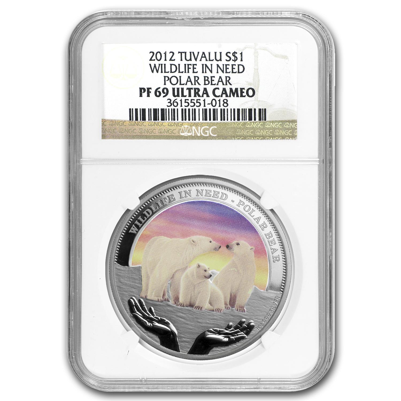 2012 Tuvalu 1 Oz Silver Polar Bear Pf 69 Ucam Ngc Perth