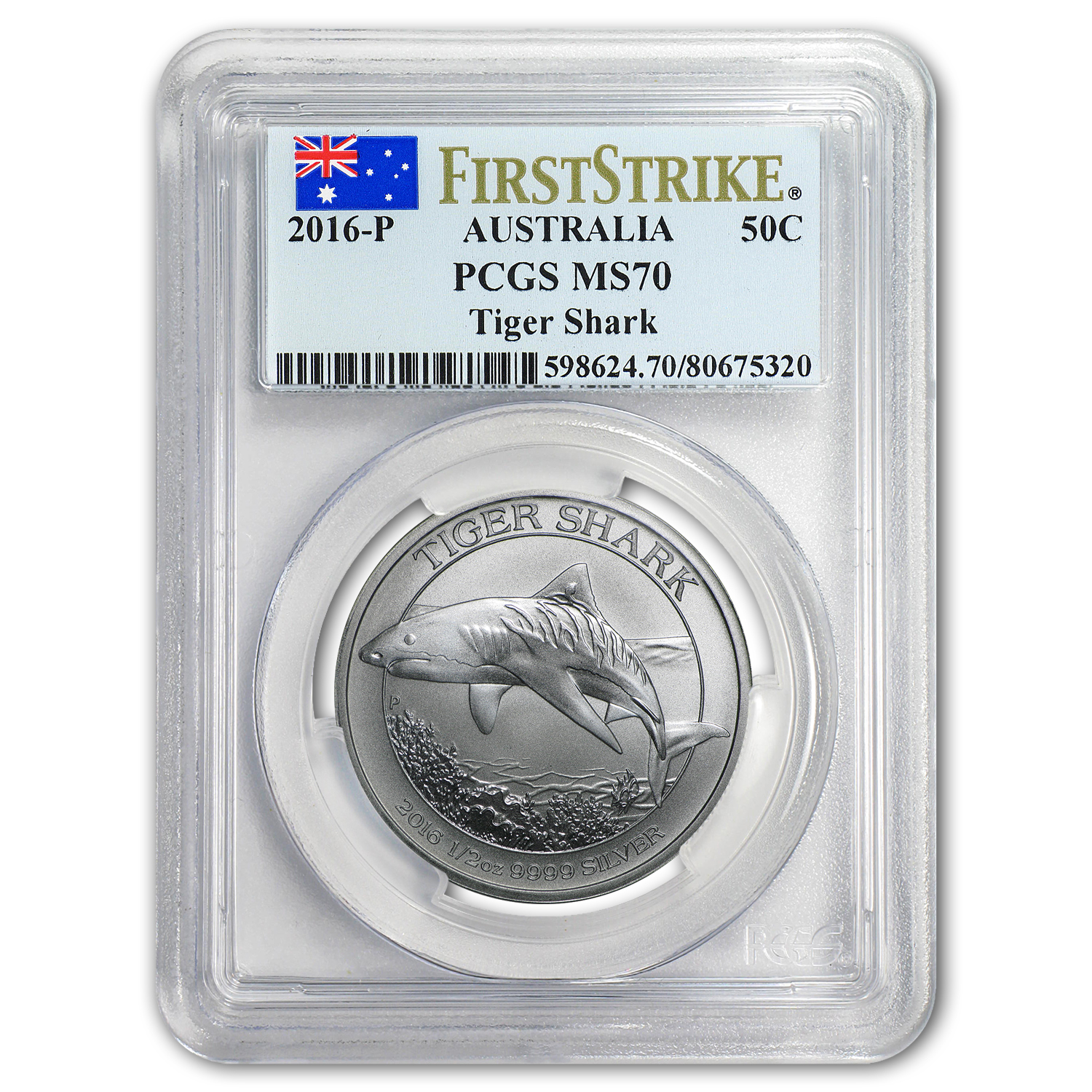 2016 Australia 1/2 oz Silver Tiger Shark MS-70 PCGS (FS)