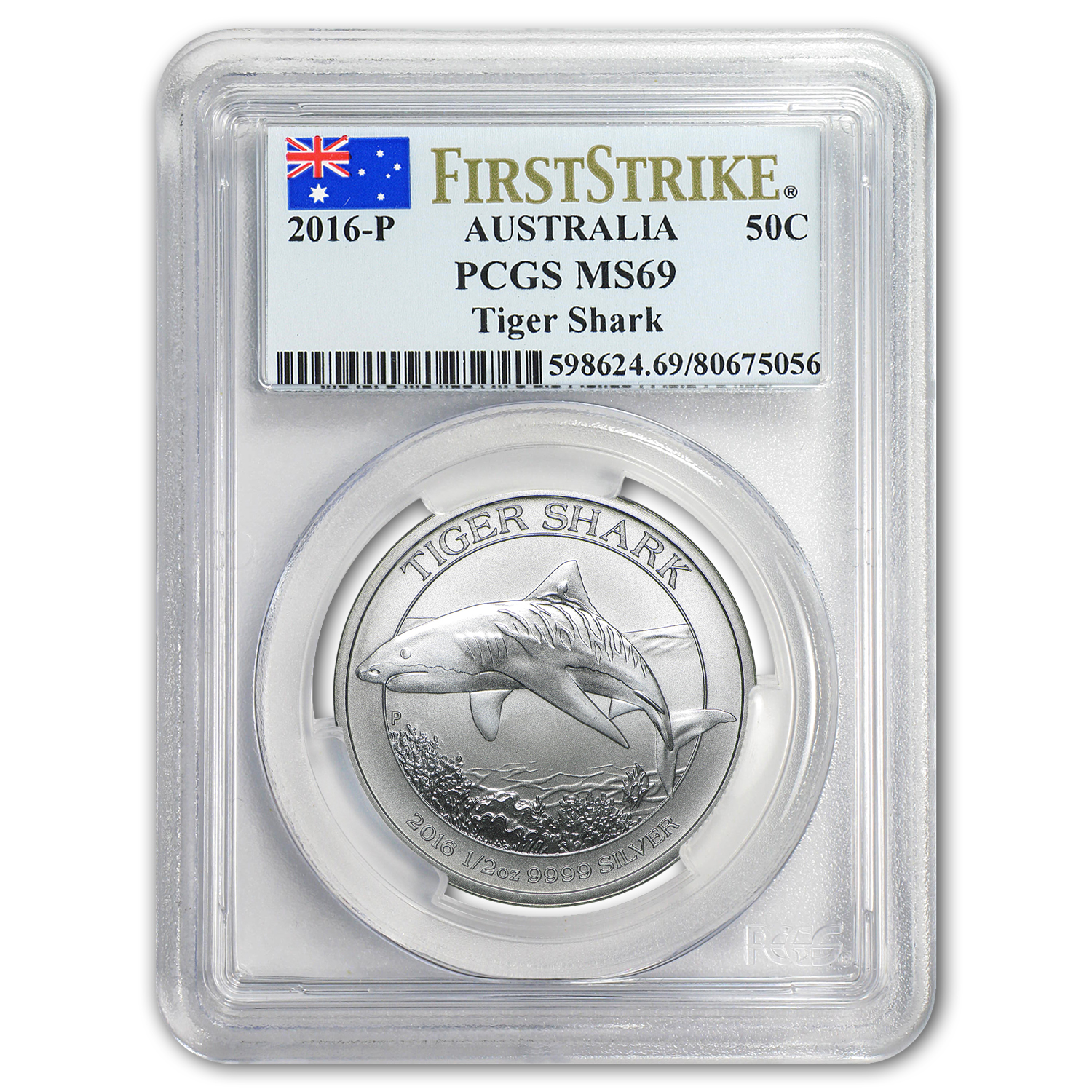 2016 Australia 1/2 oz Silver Tiger Shark MS-69 PCGS (FS)