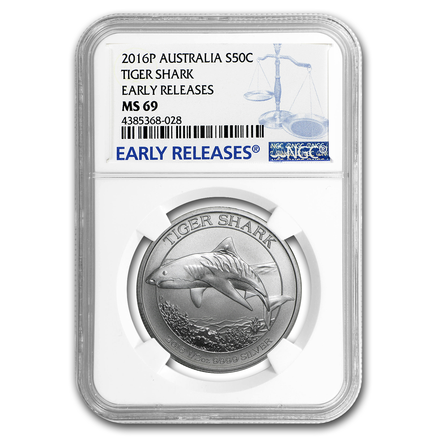 2016 Australia 1/2 oz Silver Tiger Shark MS-69 NGC (ER)