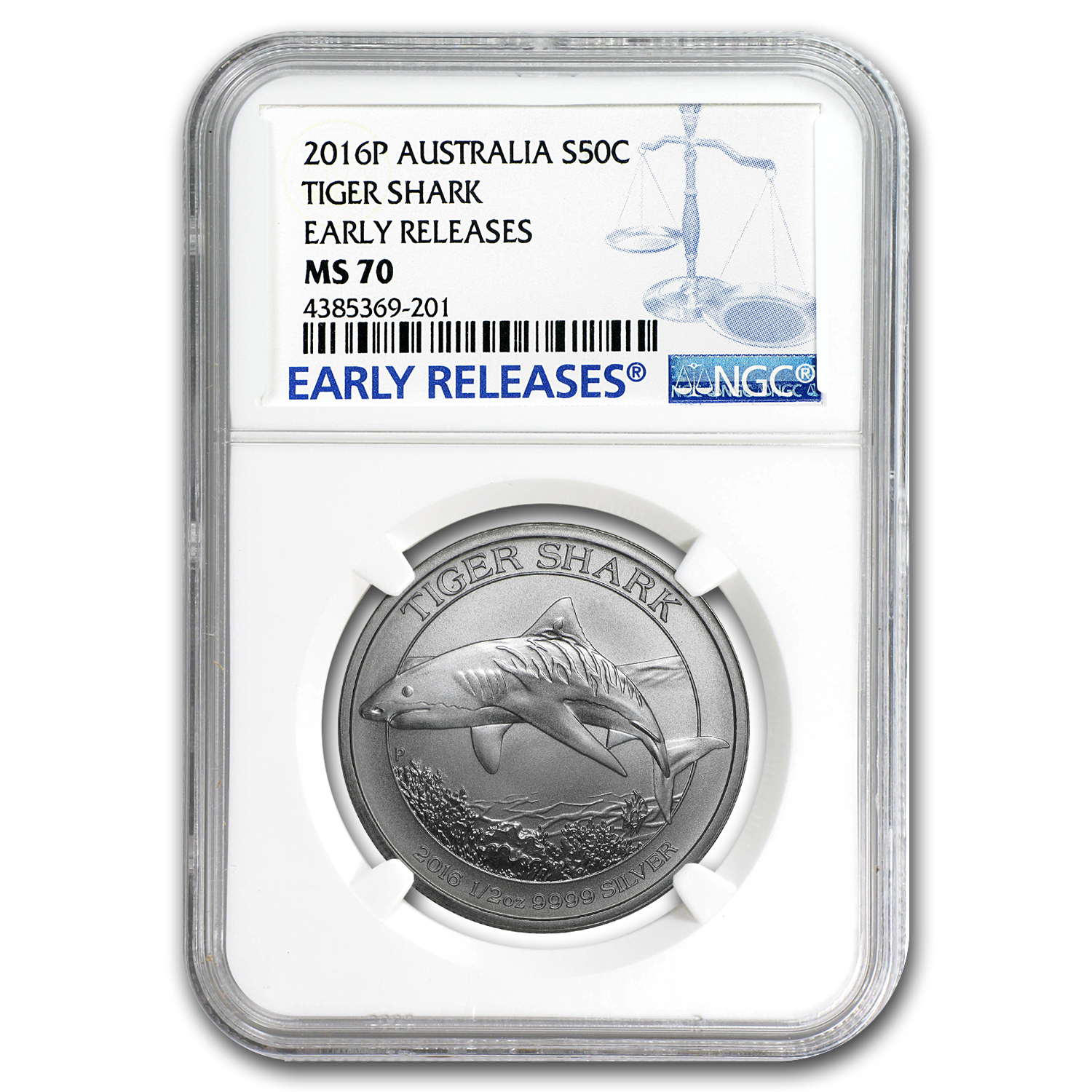 2016 Australia 1/2 oz Silver Tiger Shark MS-70 NGC (ER)