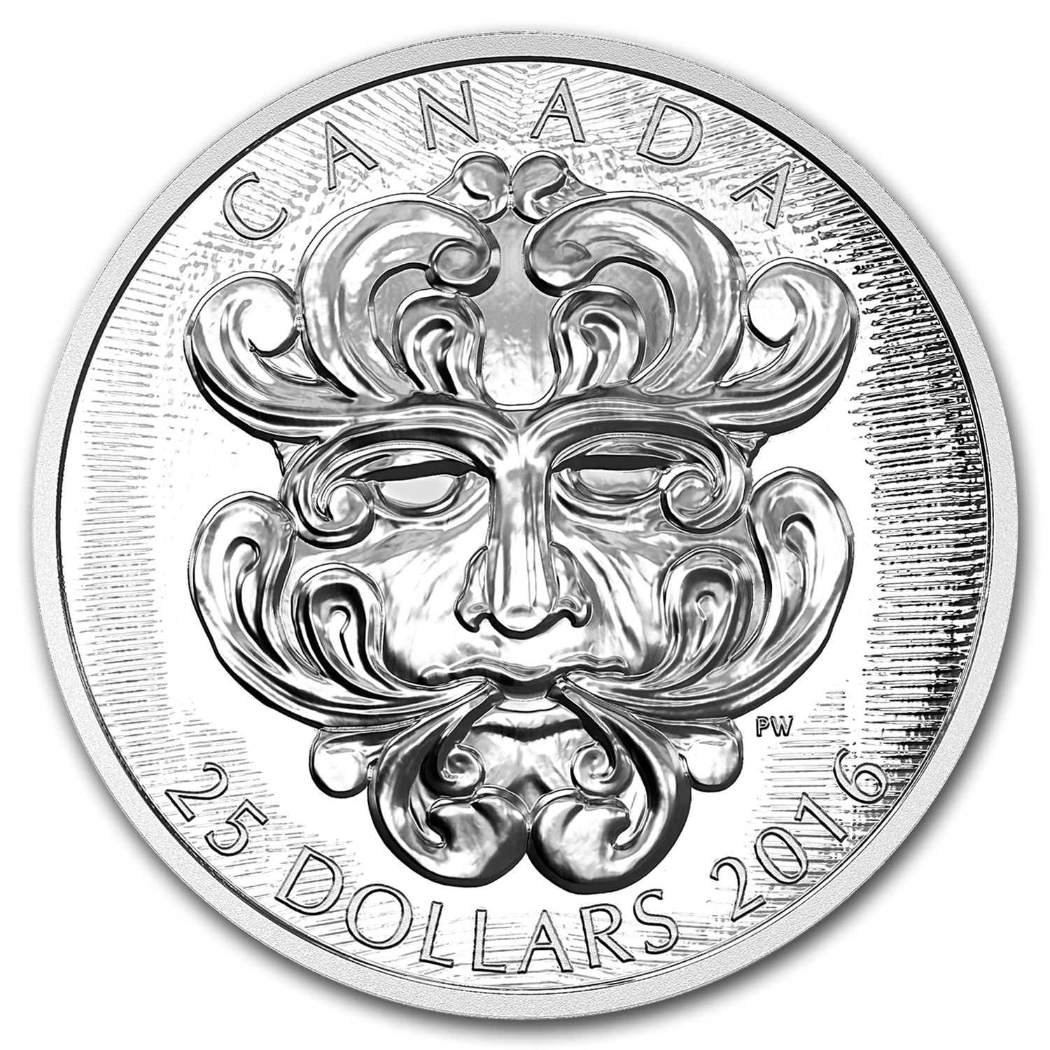 2016 Canada 1 oz Silver $25 Art of Parliament: Foliated Green Man