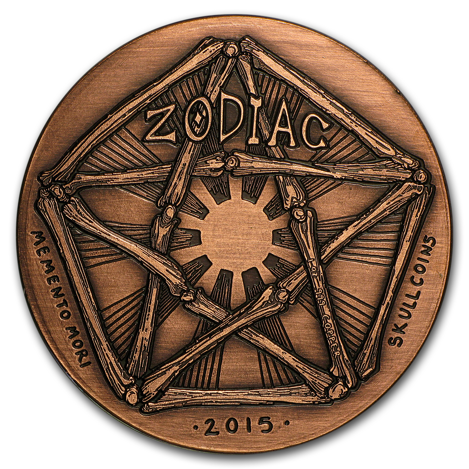 1 oz Copper Round - Zodiac Skull Series (Aquarius)