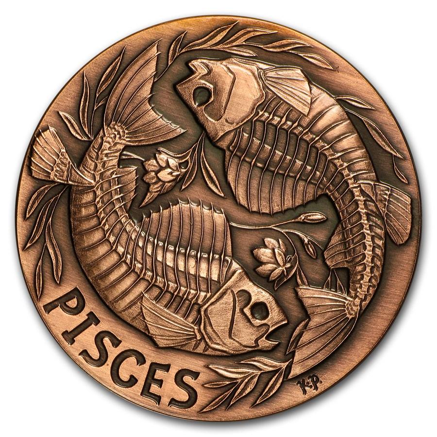 1 Oz Copper Round Pisces Zodiac Memento Mori Series