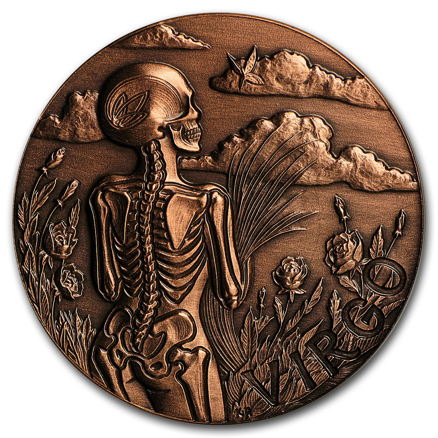 1 oz Copper Round - Zodiac Skull Series (Virgo)
