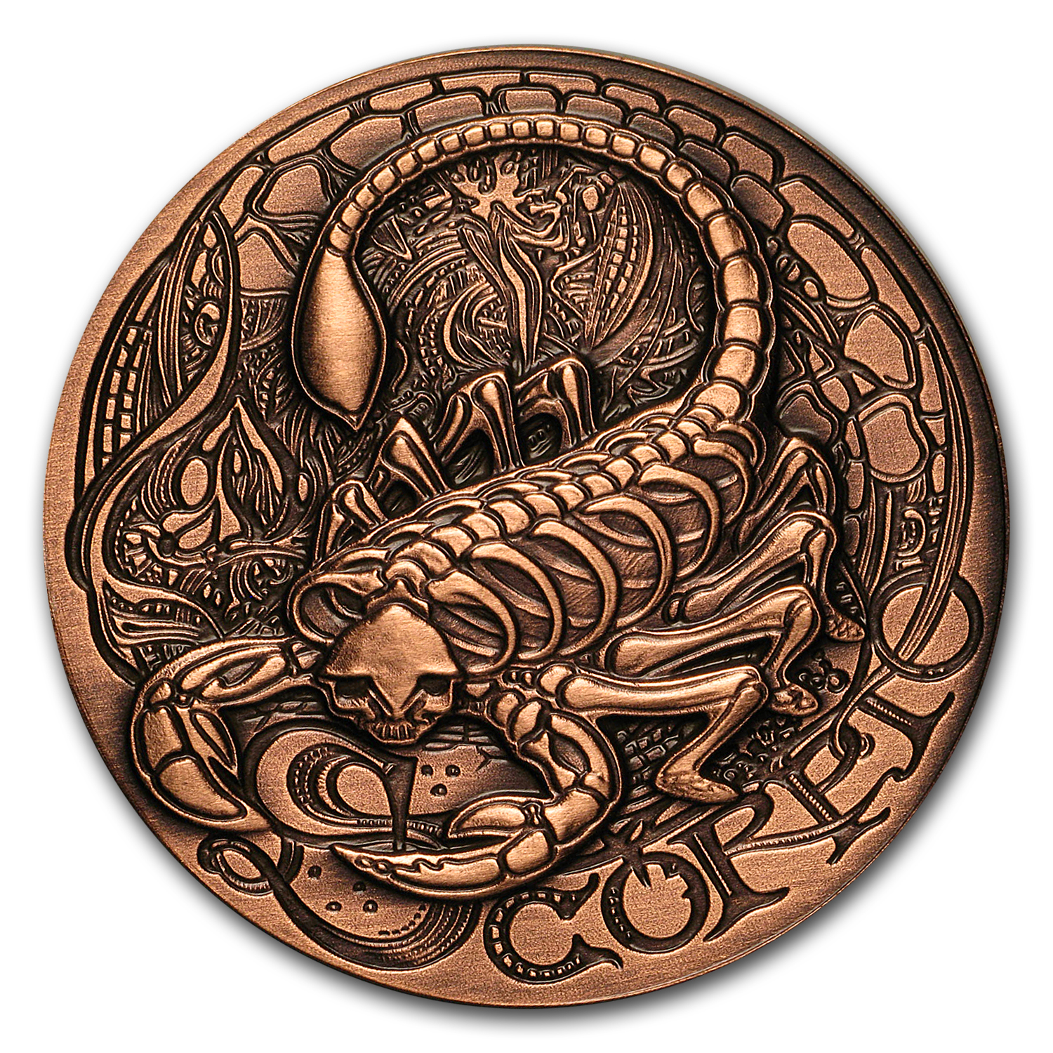 1 oz Copper Round - Zodiac Skull Series (Scorpio)
