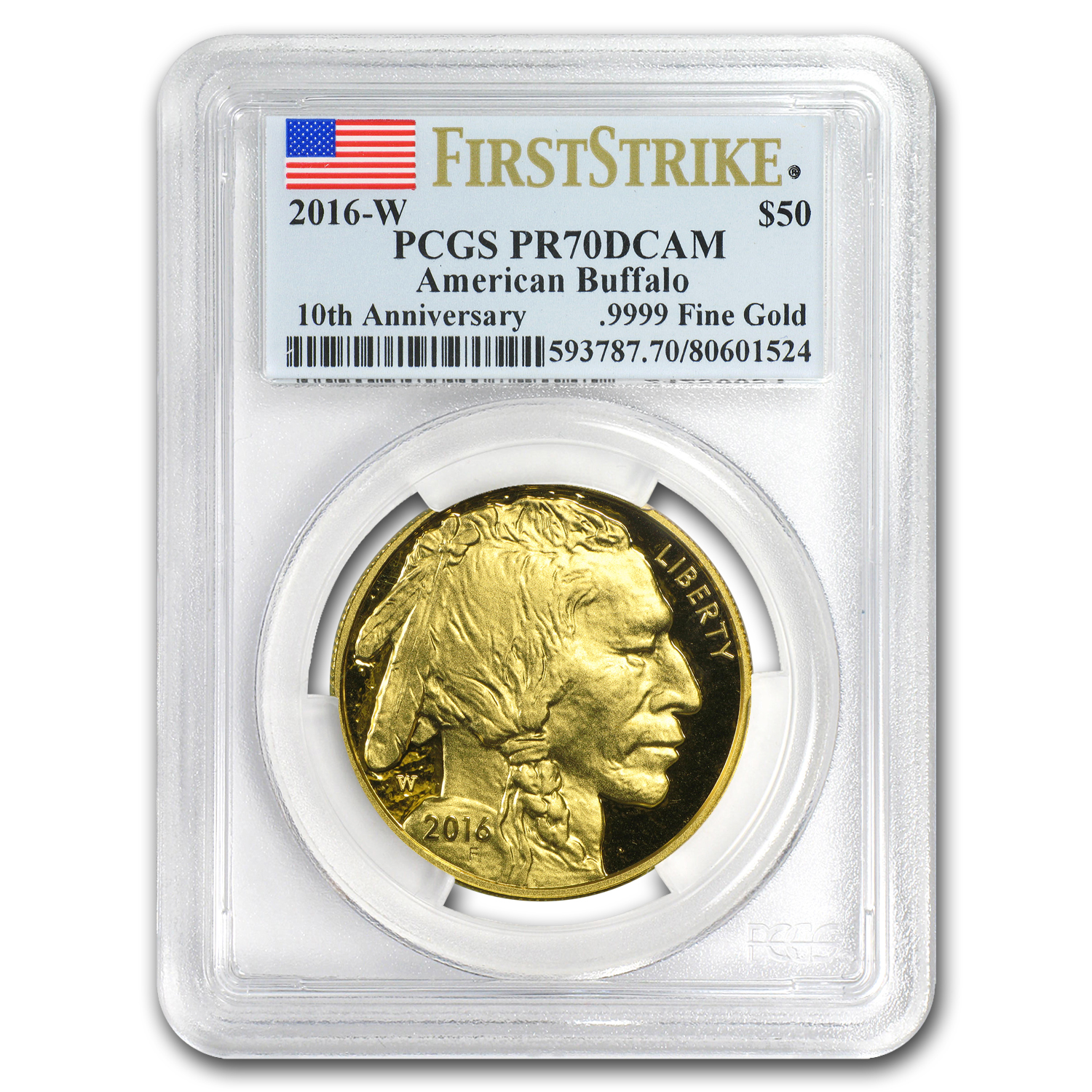 2016-W 1 oz Proof Gold Buffalo PR-70 PCGS (FS, Flag Label)
