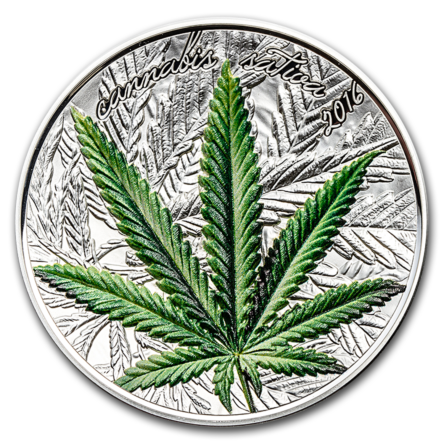 2016 Benin 1 oz Silver 1000 Francs CFA Cannabis Leaf