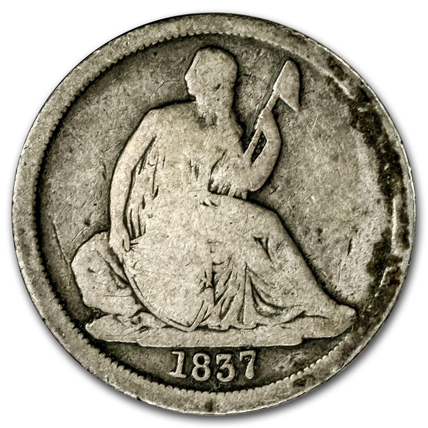 1837 Liberty Seated Dime Large Date Good