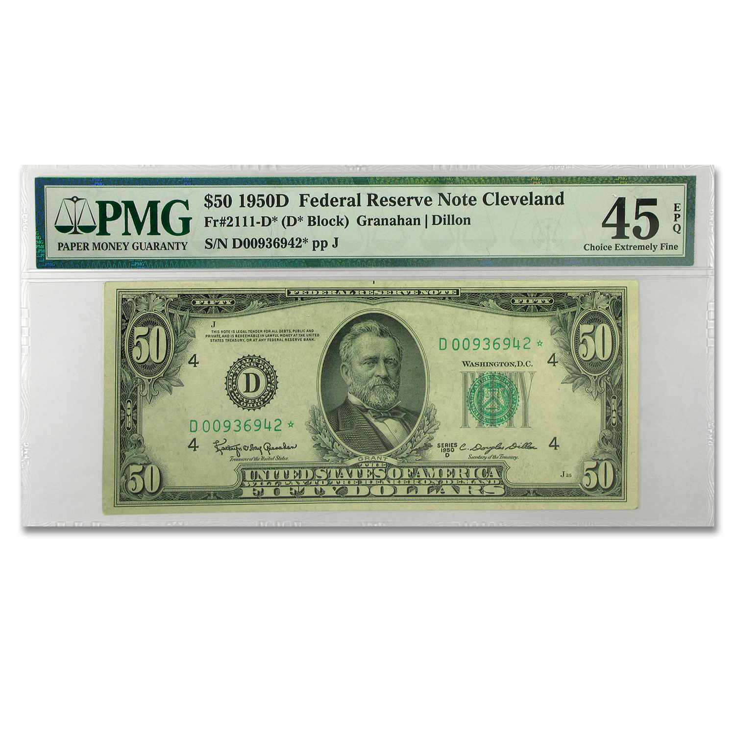 1950-D (D-Cleveland) $50 FRN Star Note XF-45 PMG EPQ