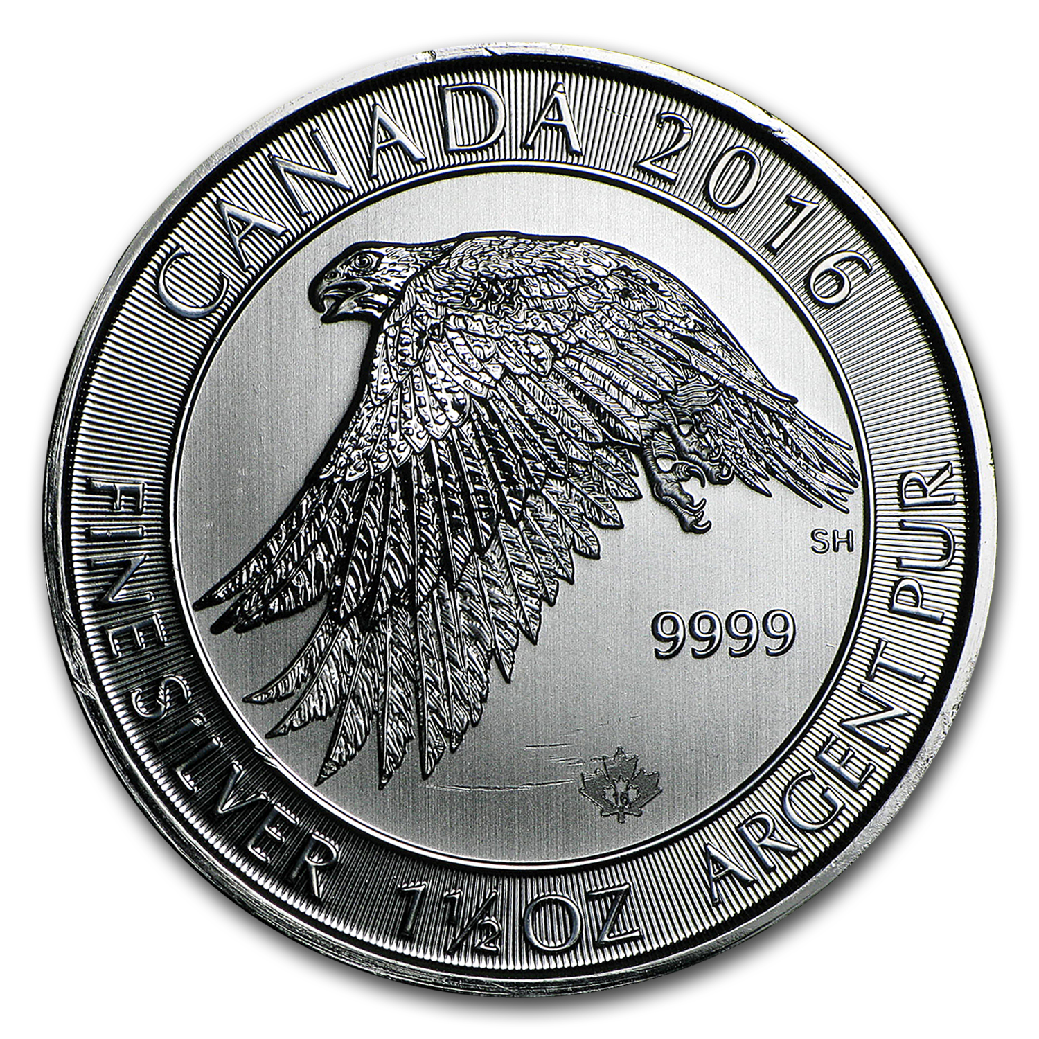 2016 Canada 1.5 oz Silver $8 White Falcon (Damaged)