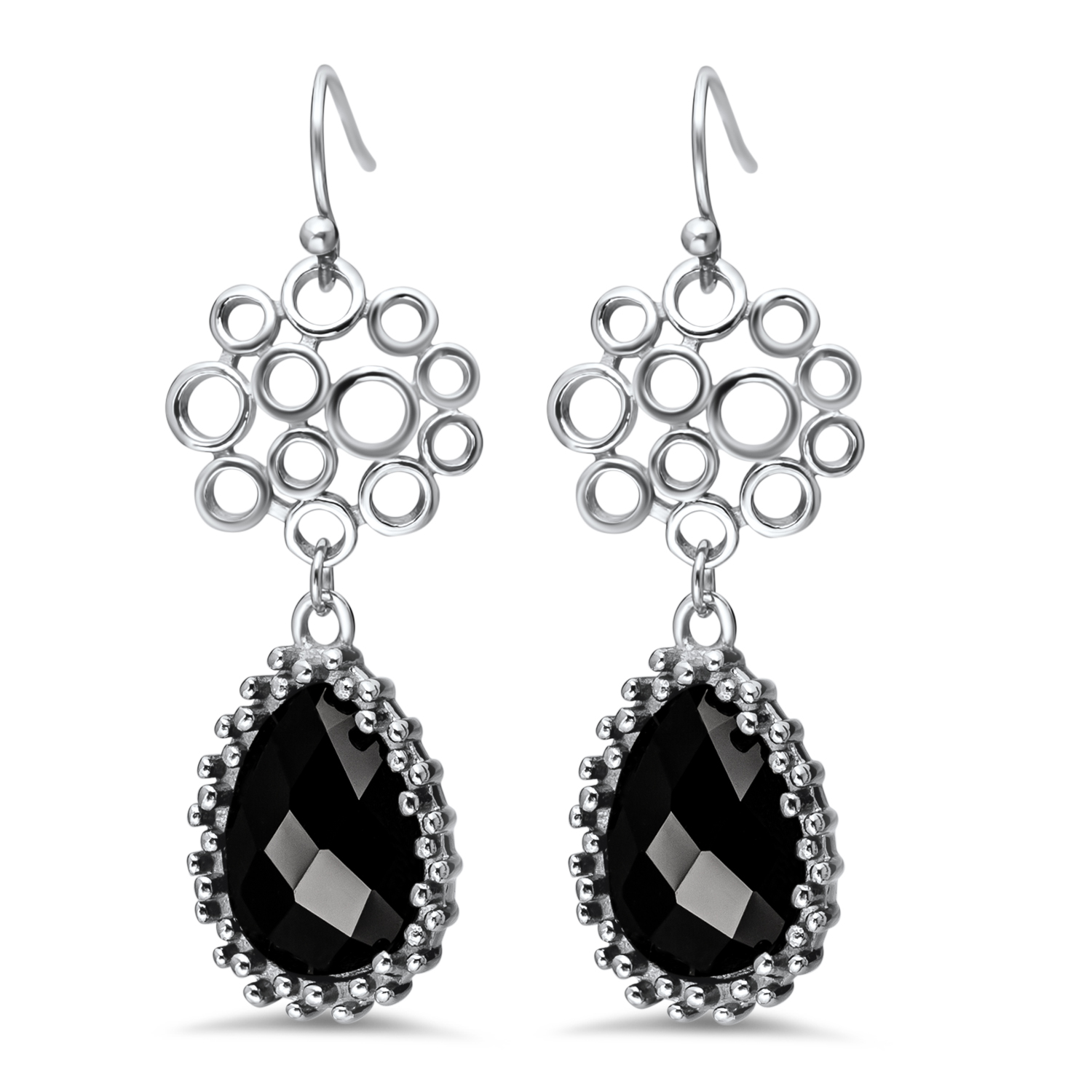 Stainless Steel Polished Black Onyx Teardrop Earrings