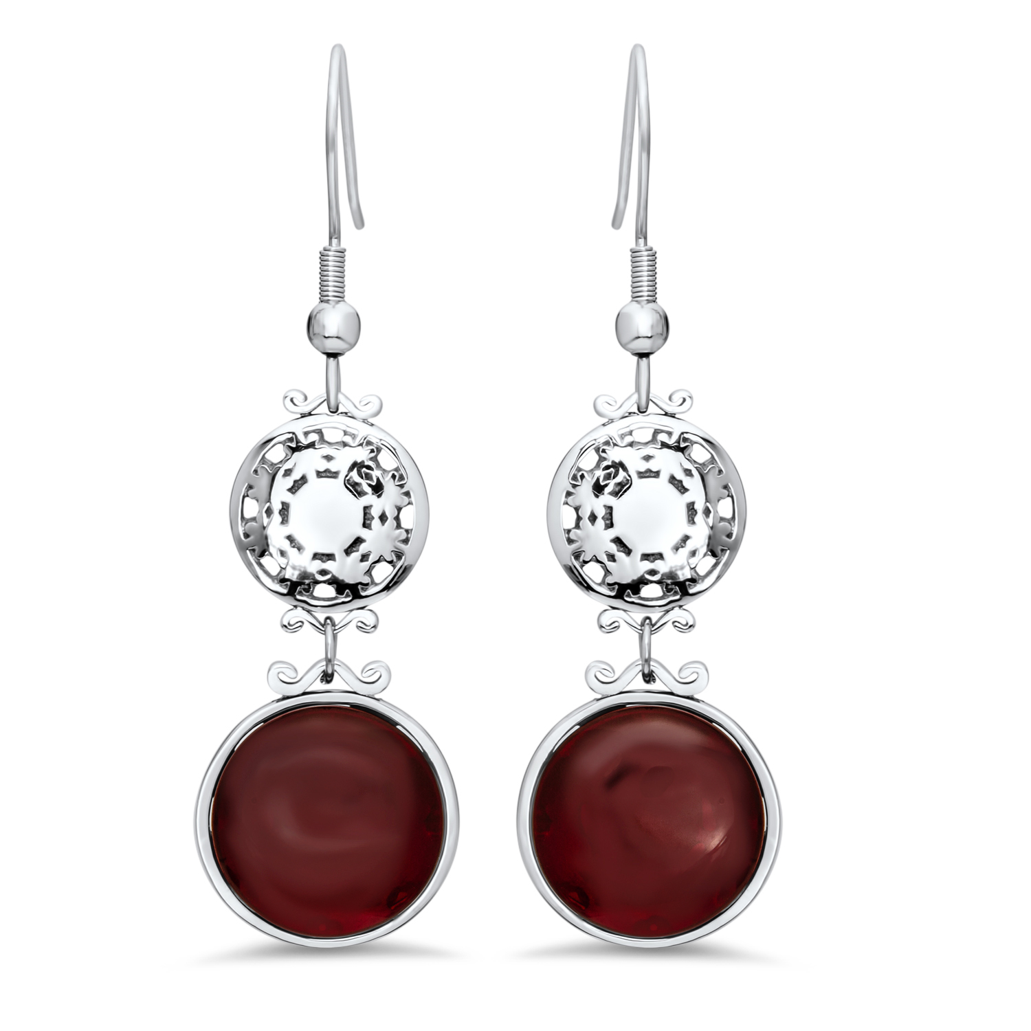 Stainless Steel Red Glass Polished Earrings