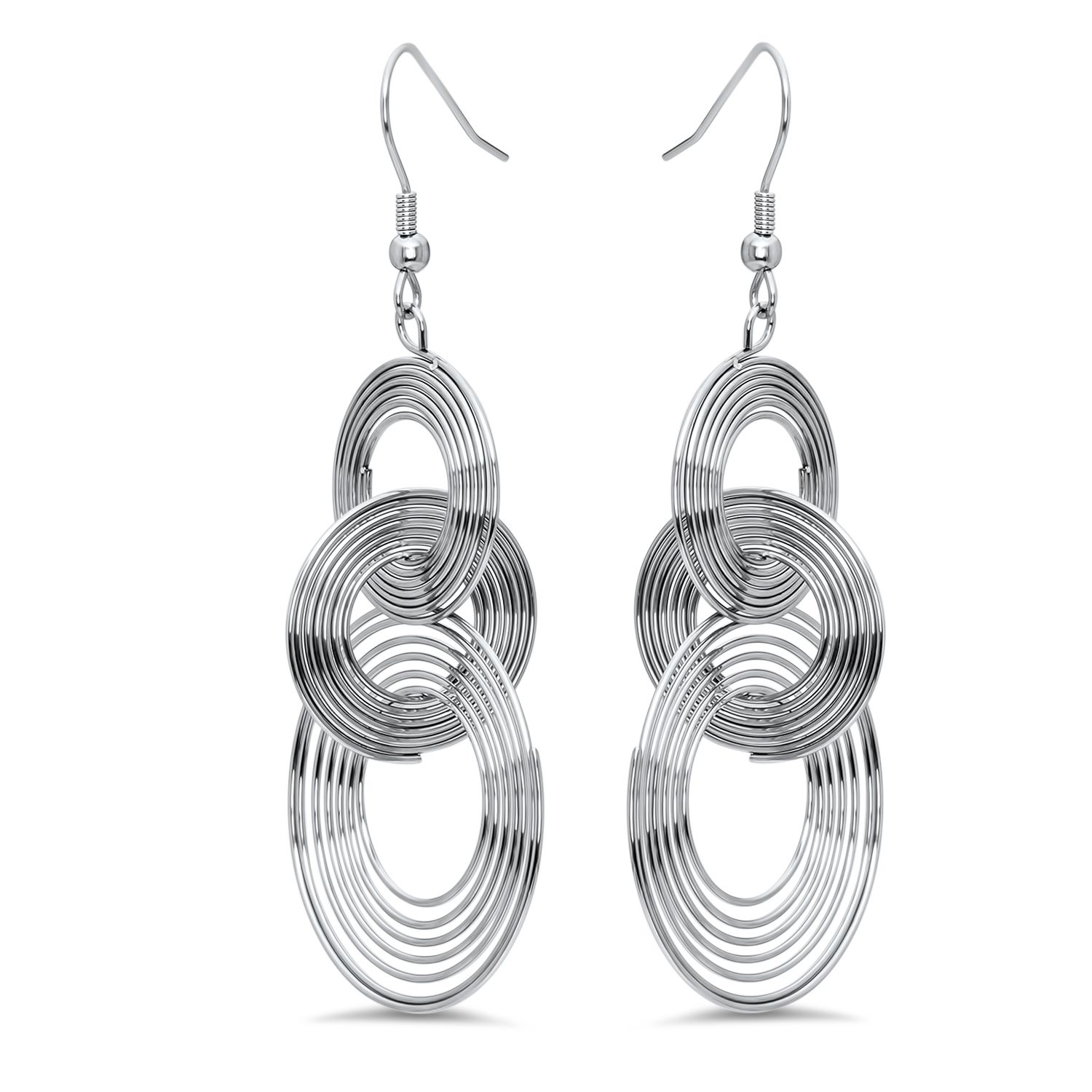 Stainless Steel Multiple Circle Dangle Earrings