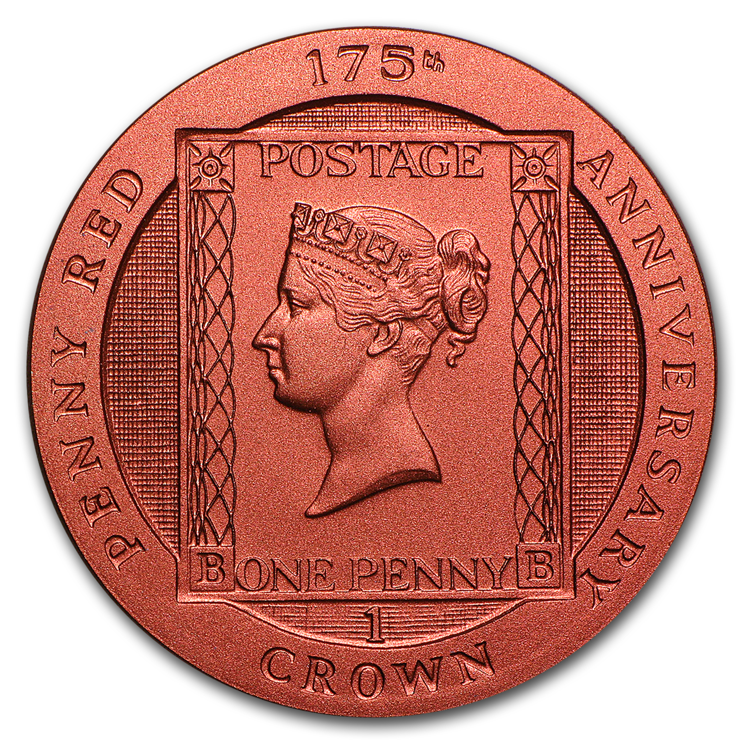 2016 Isle of Man Silver 1 Crown 175th Anniversary Penny Red