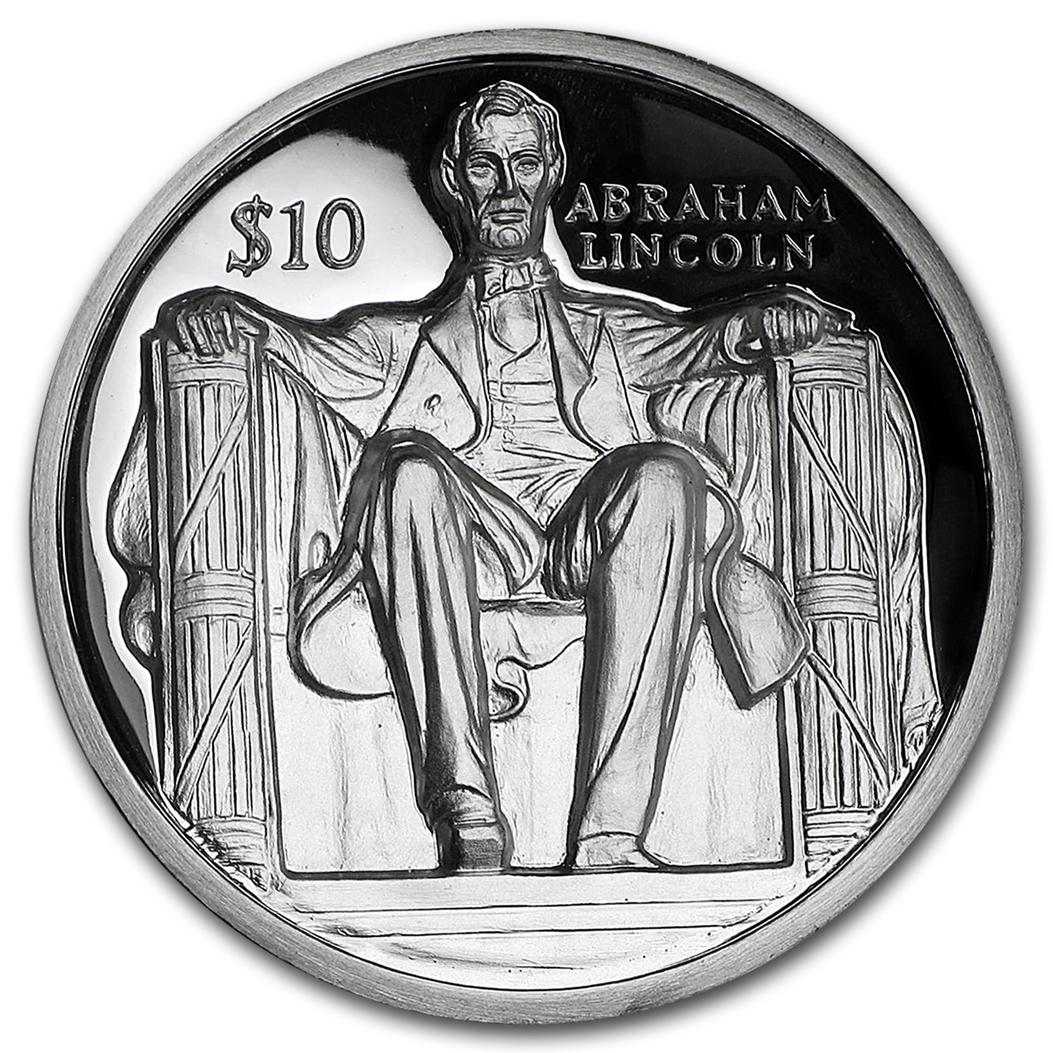 2016 BVI Silver $10 Abraham Lincoln (Ultra High Relief)