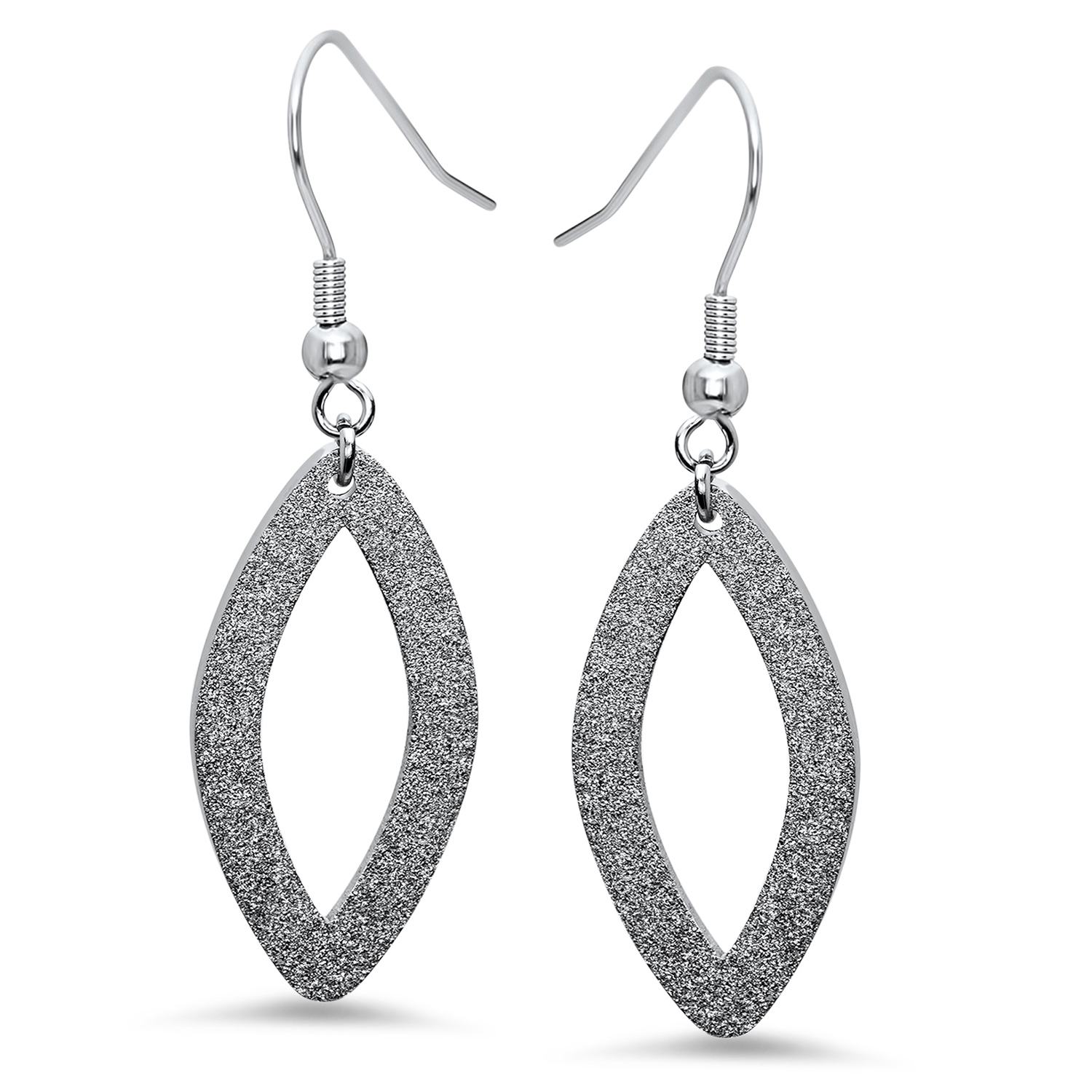 Stainless Steel Laser Cut Oval Dangle Earrings