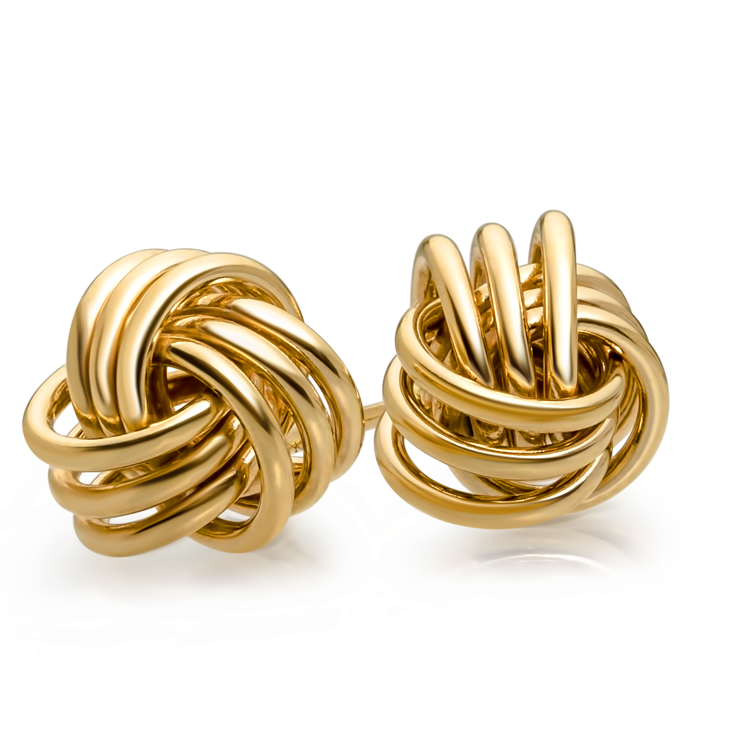 14k Gold Polished Triple Knot Post Earrings