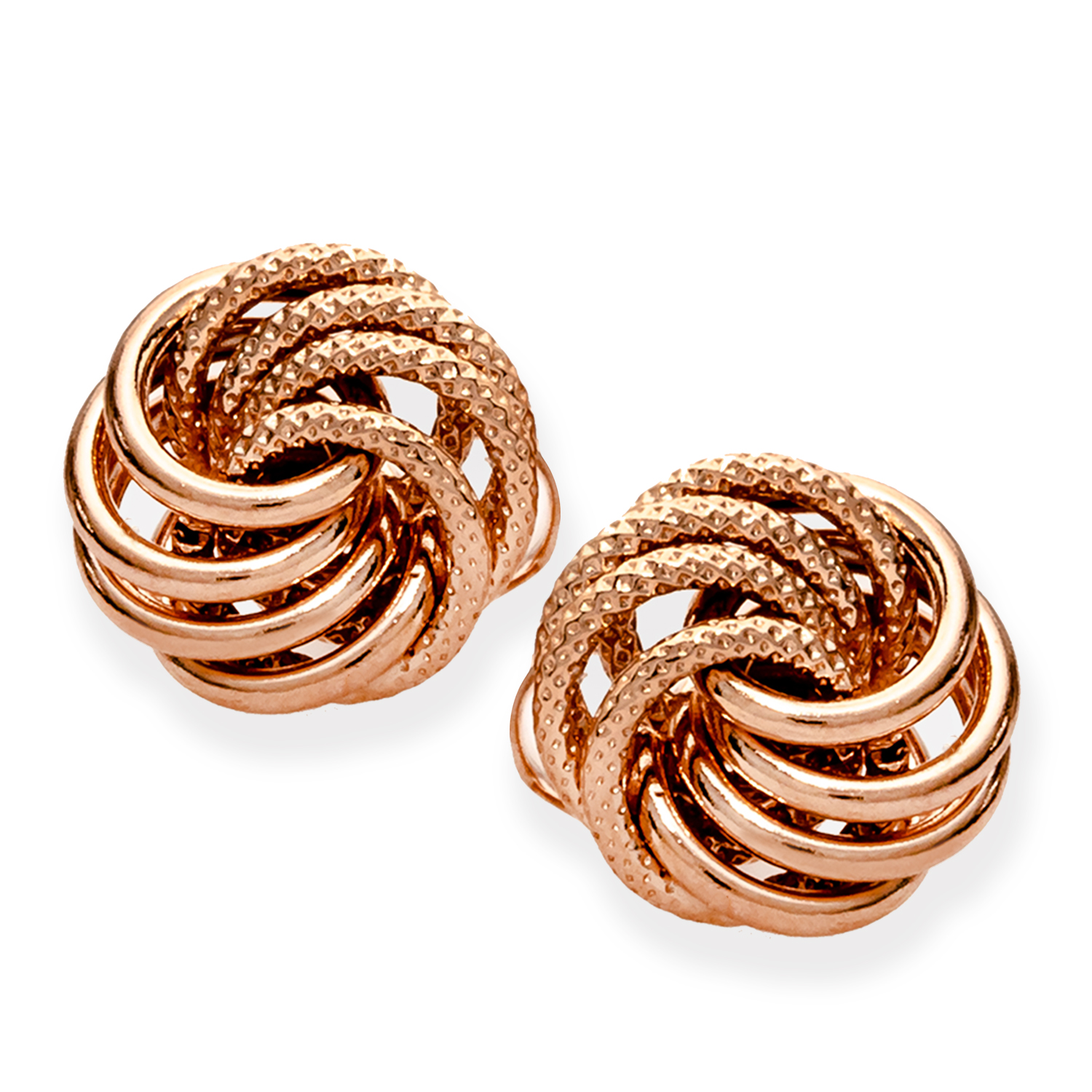 14k Rose Gold Polished & Textured Love Knot Post Earrings