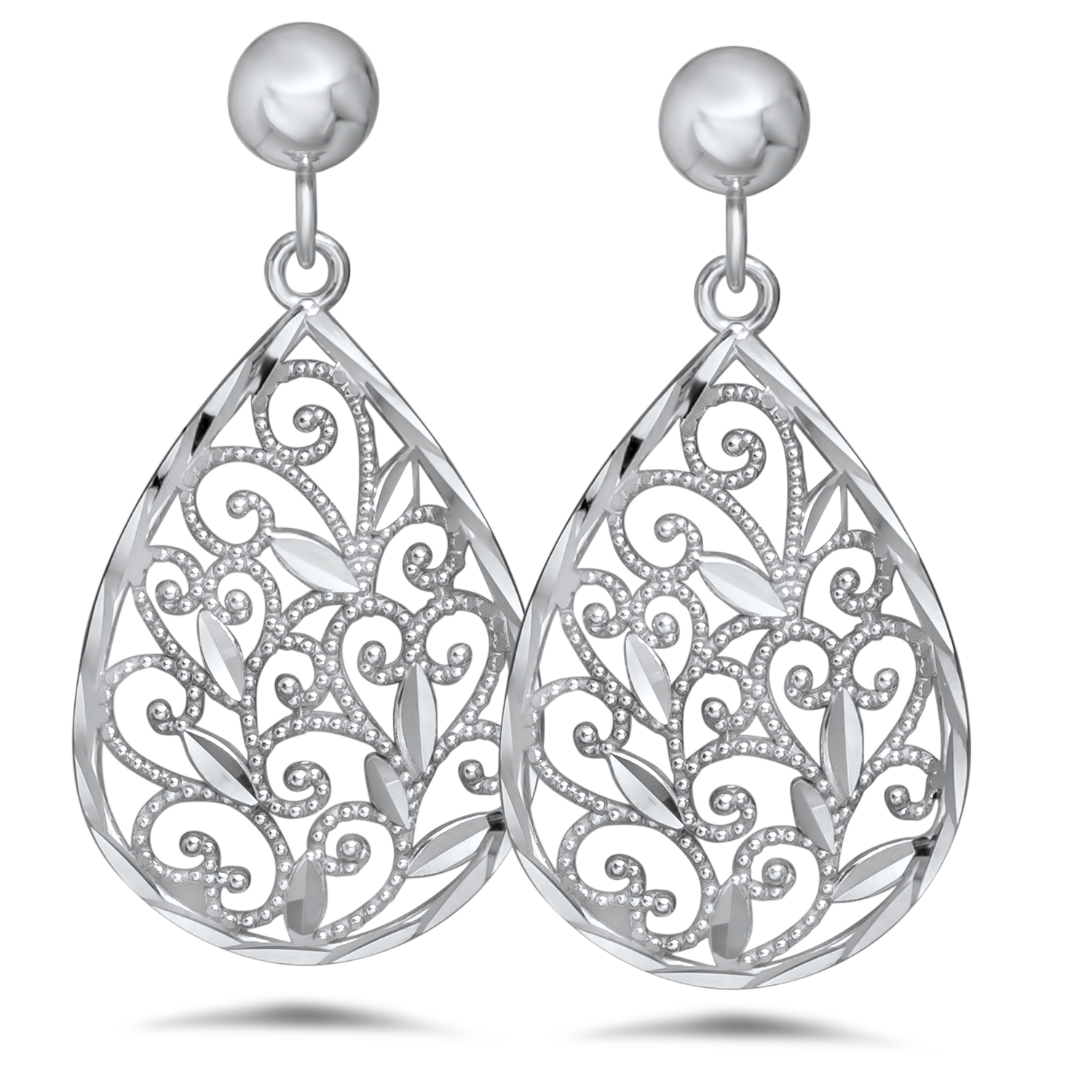 14k White Gold Polished Filigree Teardrop Post Dangle Earrings